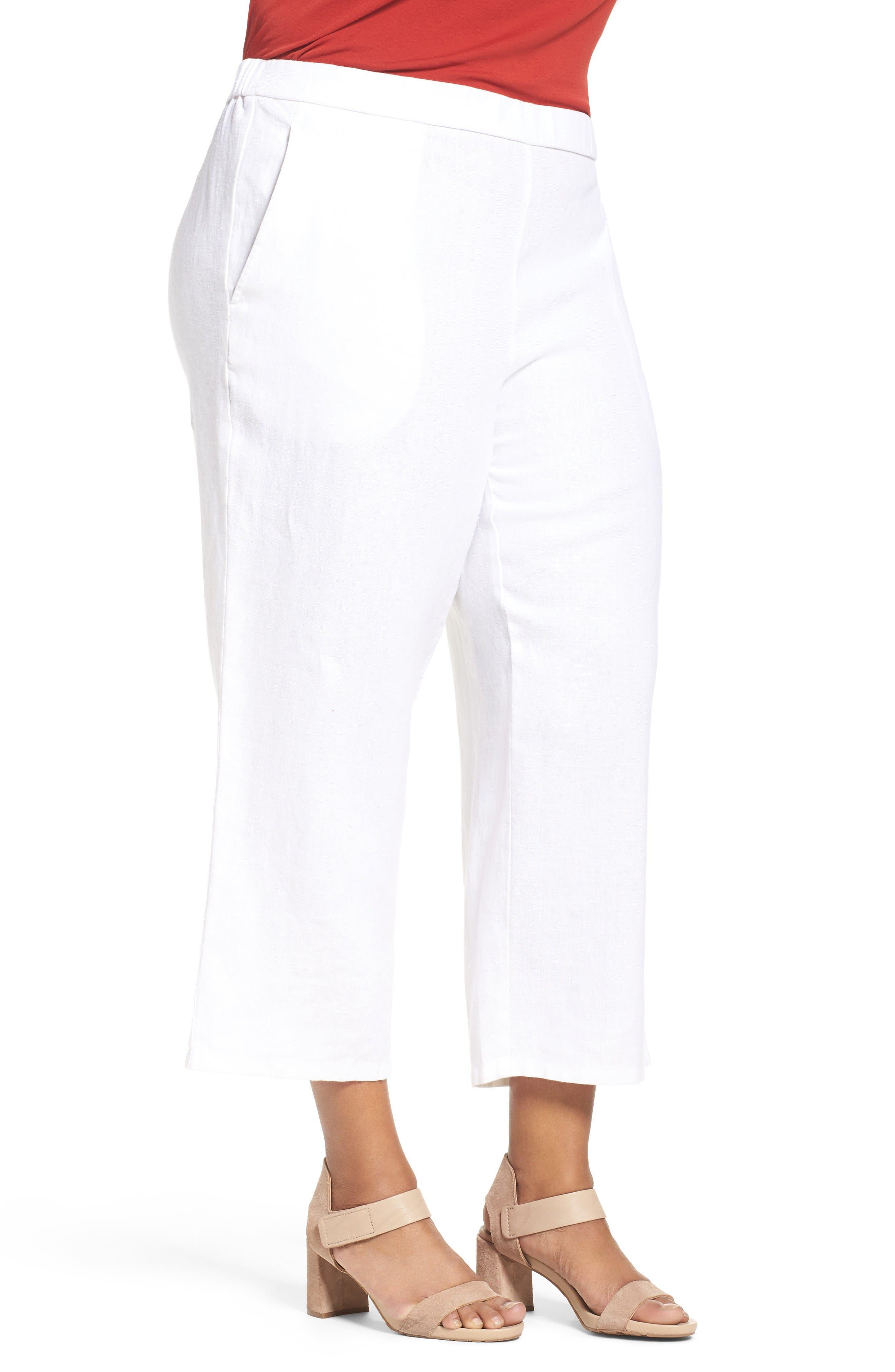 Alternate Image 3  - Eileen Fisher Organic Linen Wide Leg Crop Pants (Plus Size)