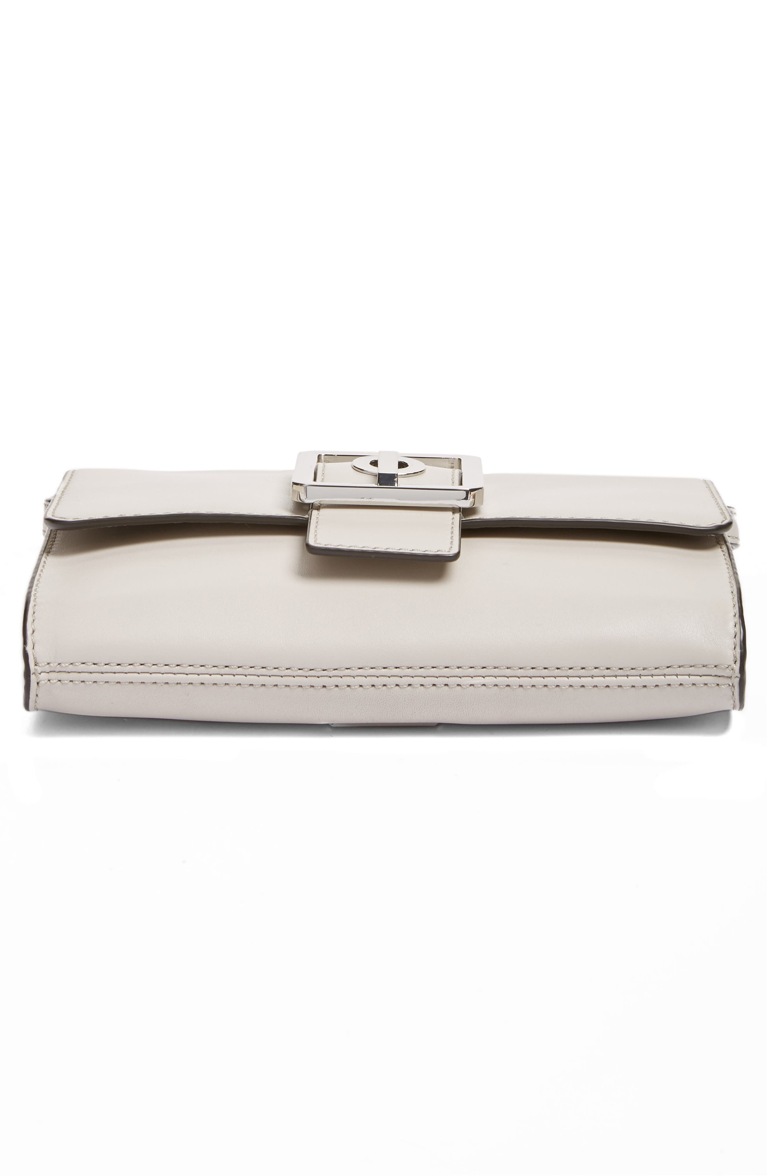 Hook Up Convertible Leather Clutch,                             Alternate thumbnail 6, color,                             Putty/ Silver