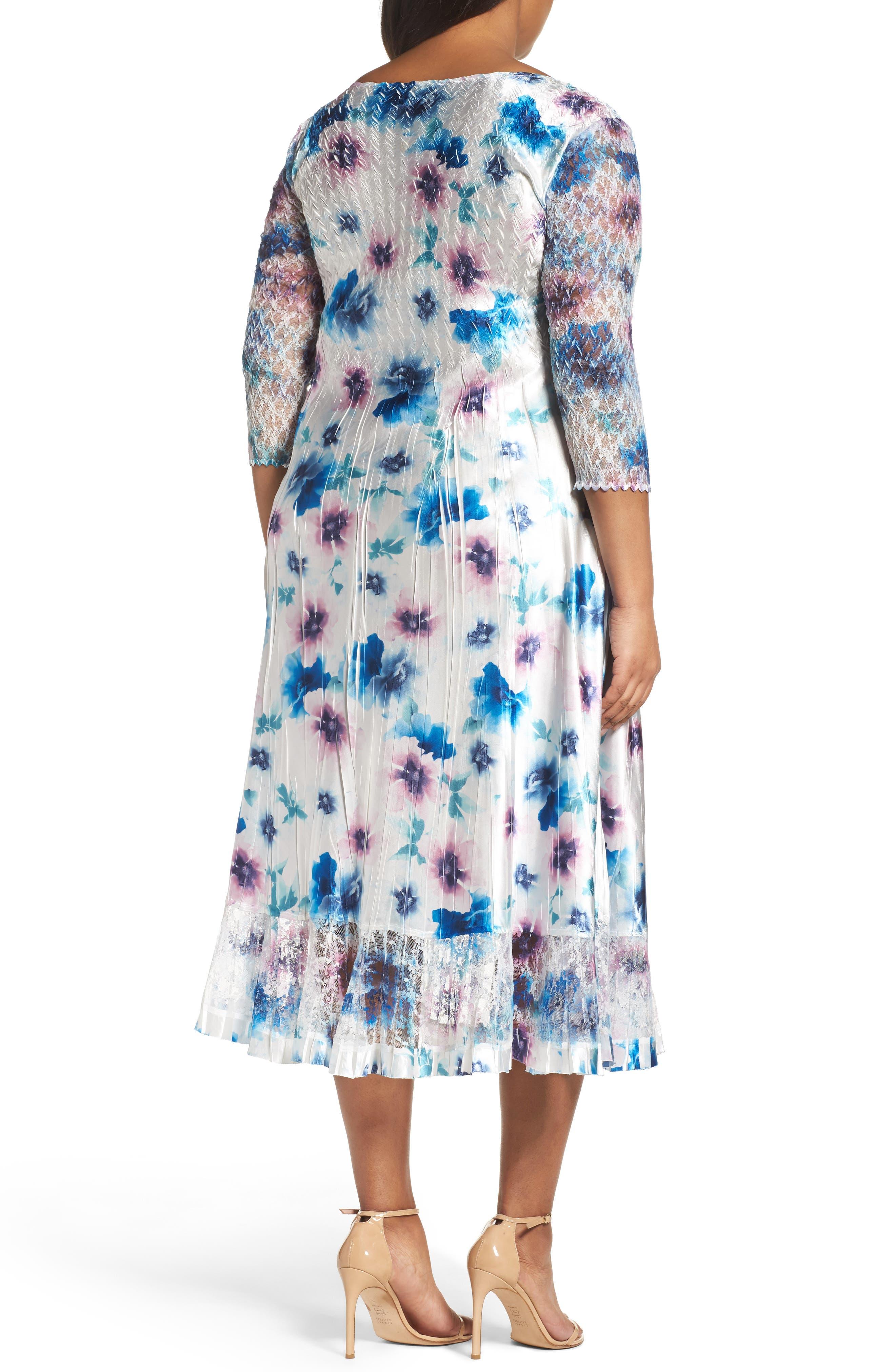 Floral Charmeuse & Chiffon A-Line Dress,                             Alternate thumbnail 2, color,                             Meadow Mist