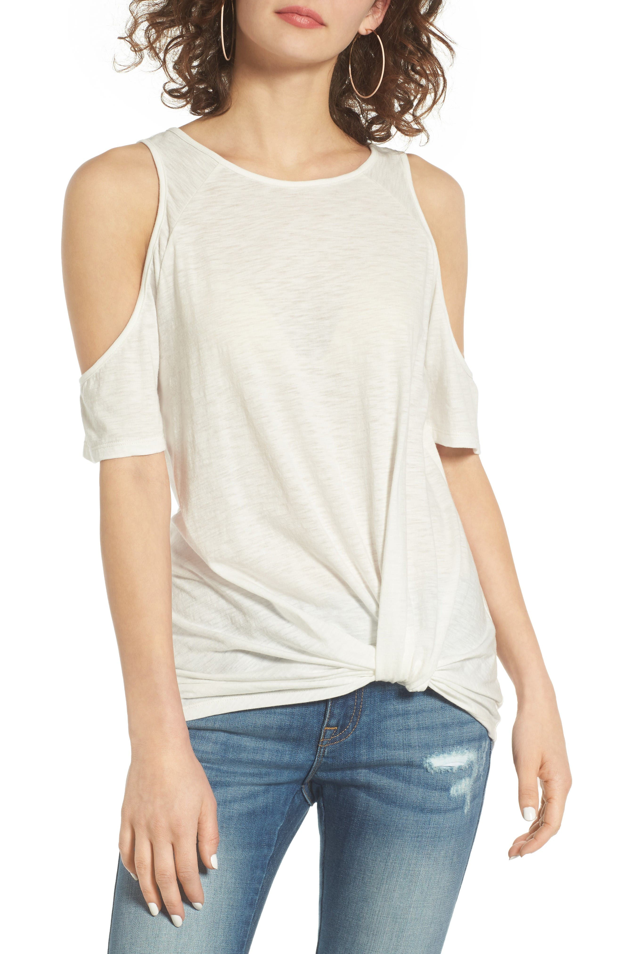 Alternate Image 1 Selected - BP. Twist Front Cold Shoulder Tee