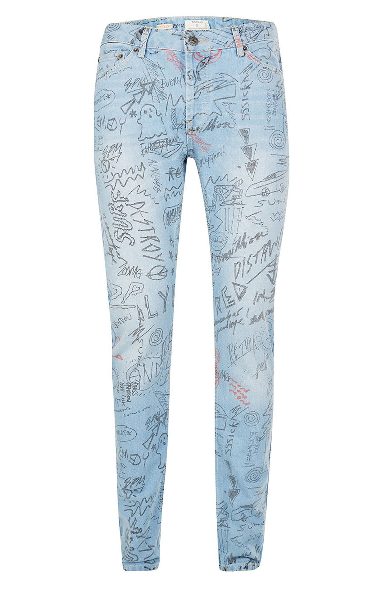 Alternate Image 6  - Topman Doodle Print Stretch Skinny Fit Jeans