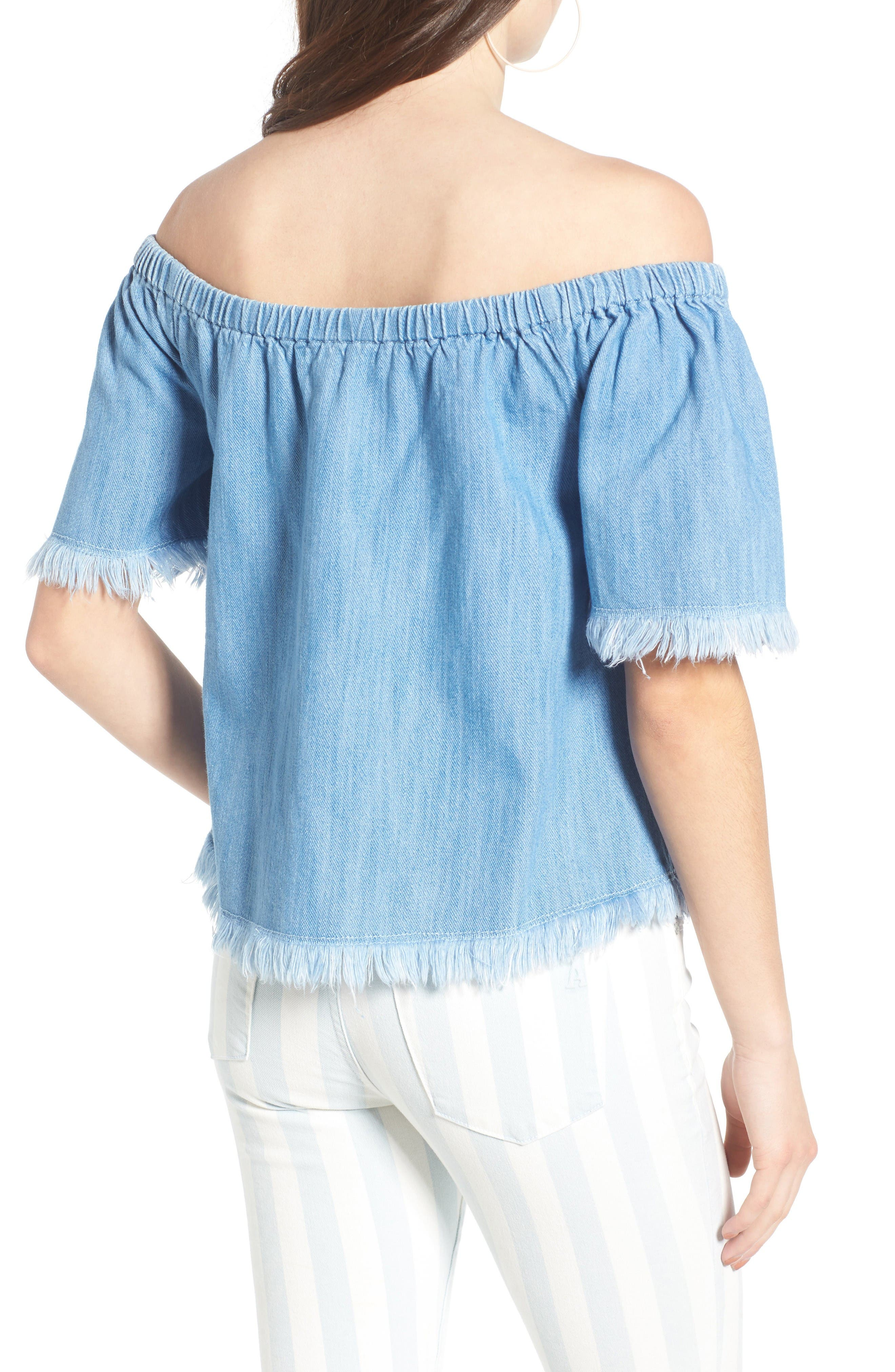Frayed Denim Off the Shoulder Top,                             Alternate thumbnail 2, color,                             Light Wash