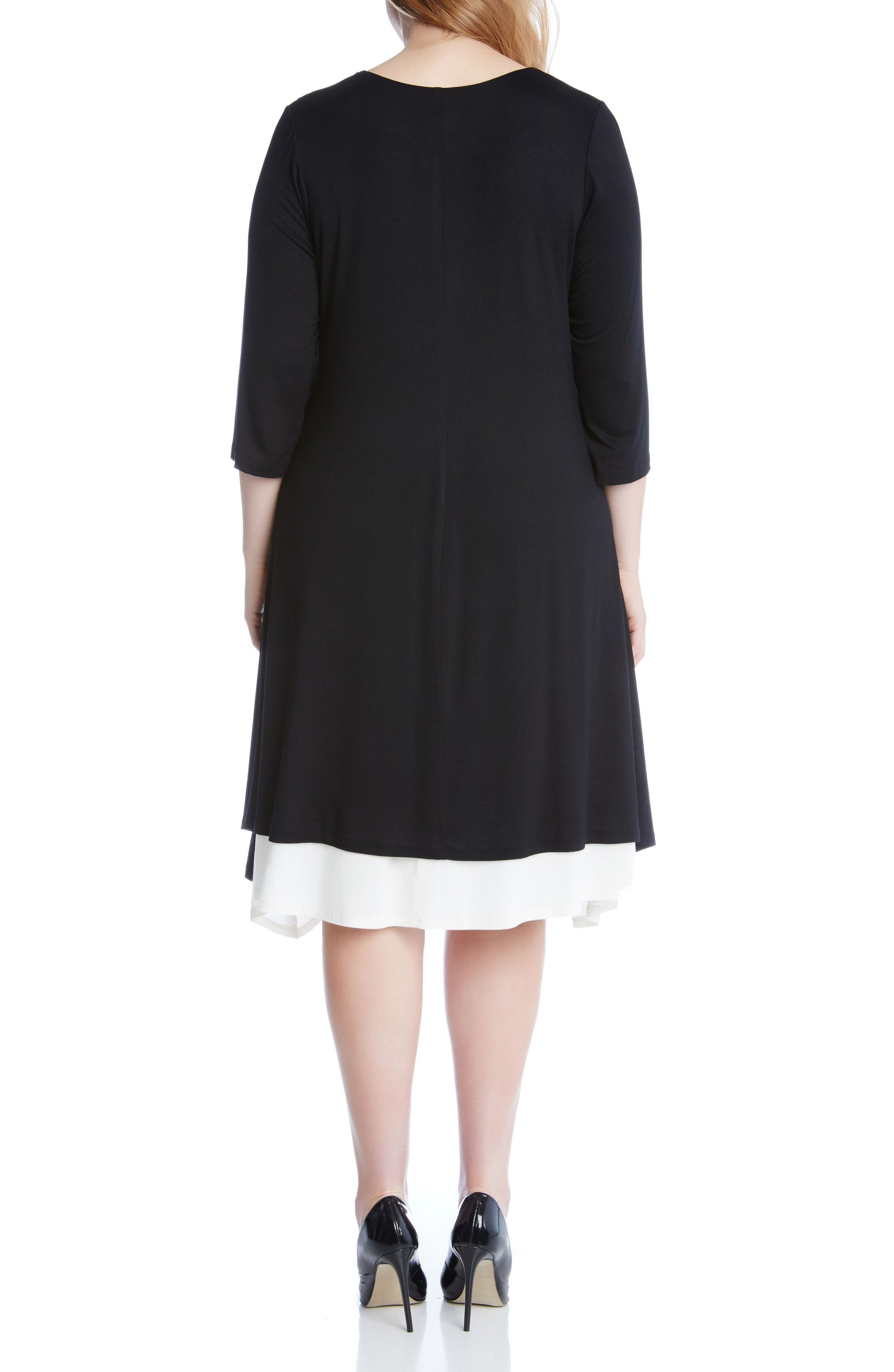 Stretch Knit Swing Dress,                             Alternate thumbnail 2, color,                             Black