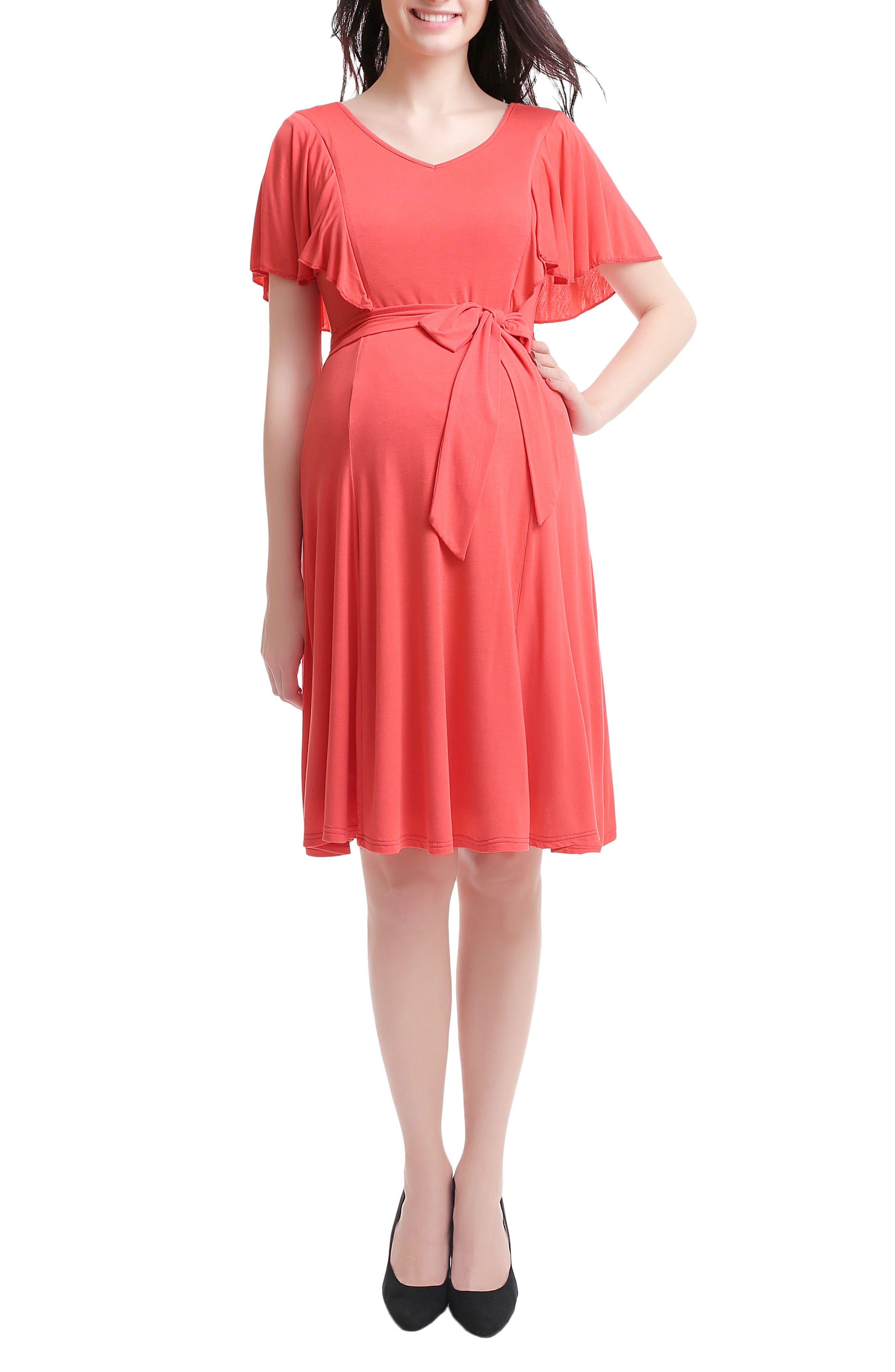 Kimi & Kai Rhea Tie Maternity/Nursing Skater Dress,                         Main,                         color, Coral