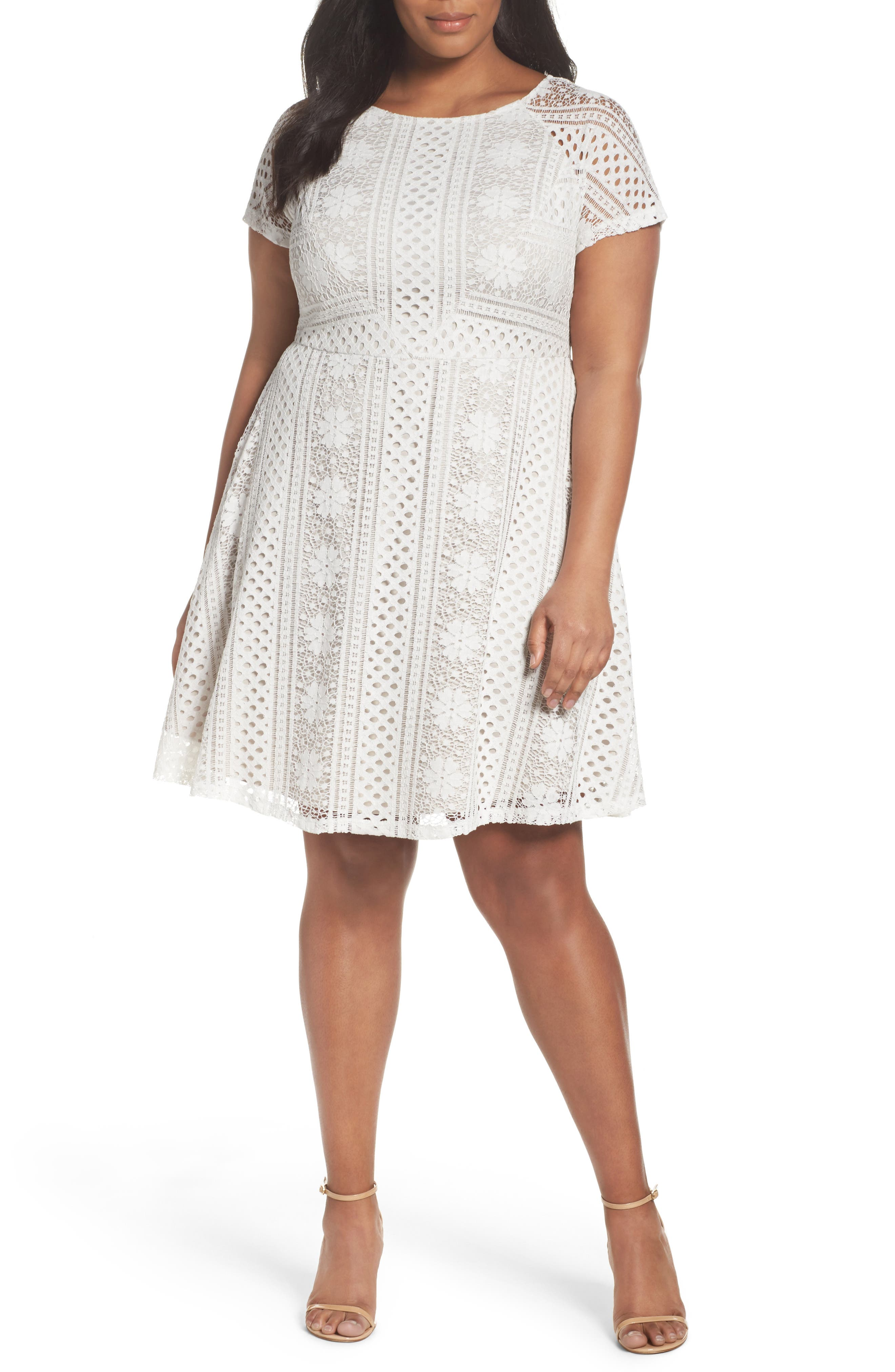 A-Line Lace Dress,                             Main thumbnail 1, color,                             Ivory/Chamois