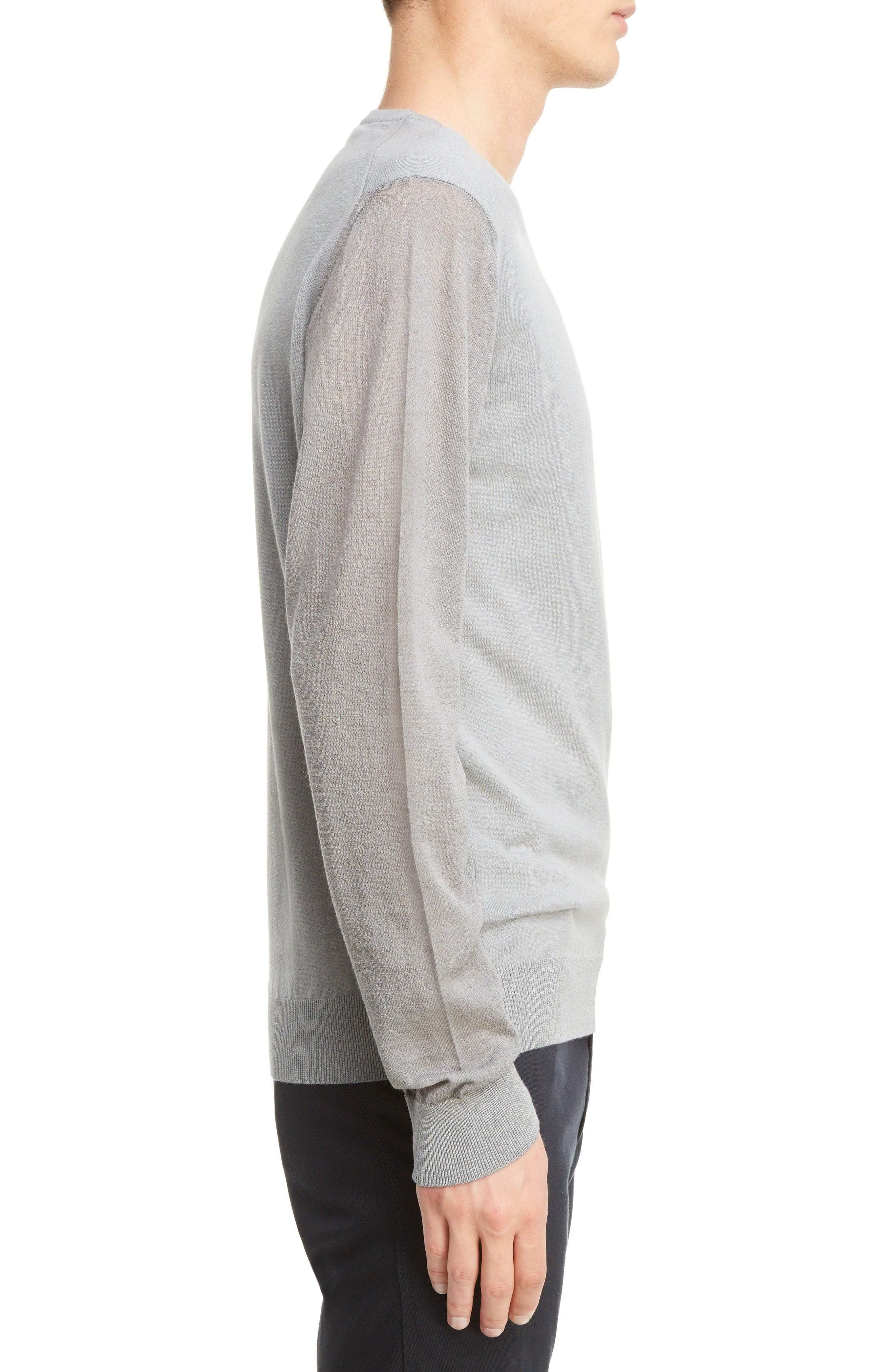 Cotton & Wool Colorblock Pullover,                             Alternate thumbnail 3, color,                             Light Grey