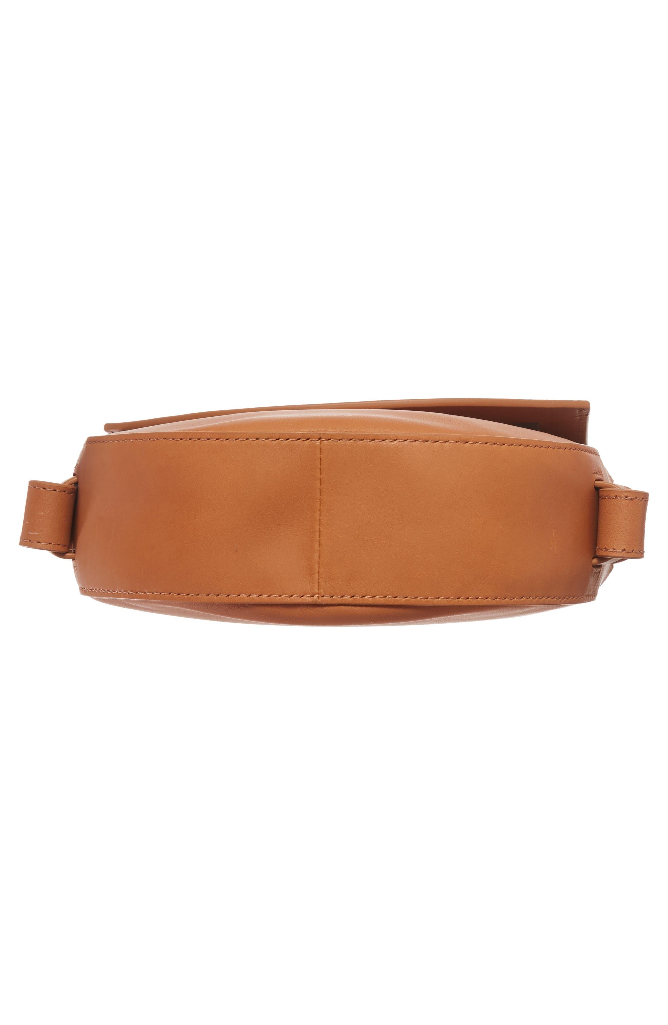 Lobelle Leather Saddle Bag,                             Alternate thumbnail 6, color,                             Tan