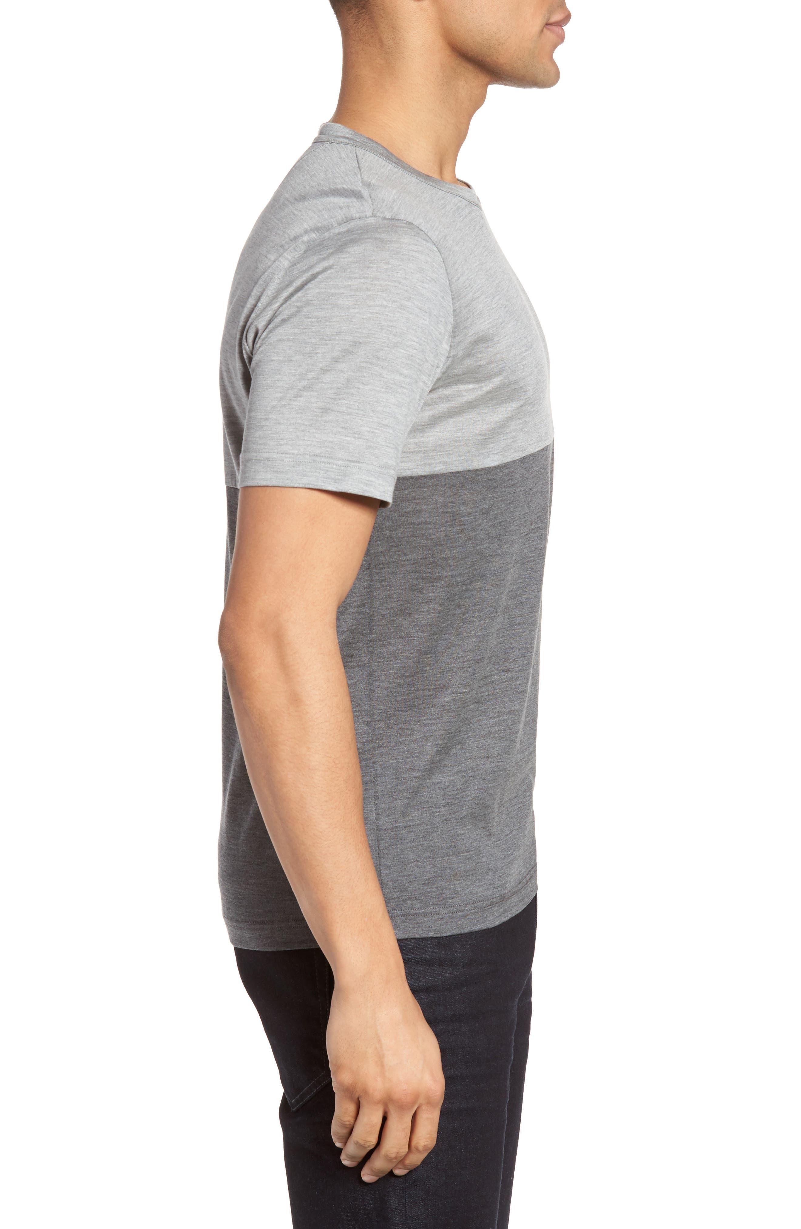 Colorblock Silk & Cotton T-Shirt,                             Alternate thumbnail 3, color,                             Light Grey/ Dark Grey
