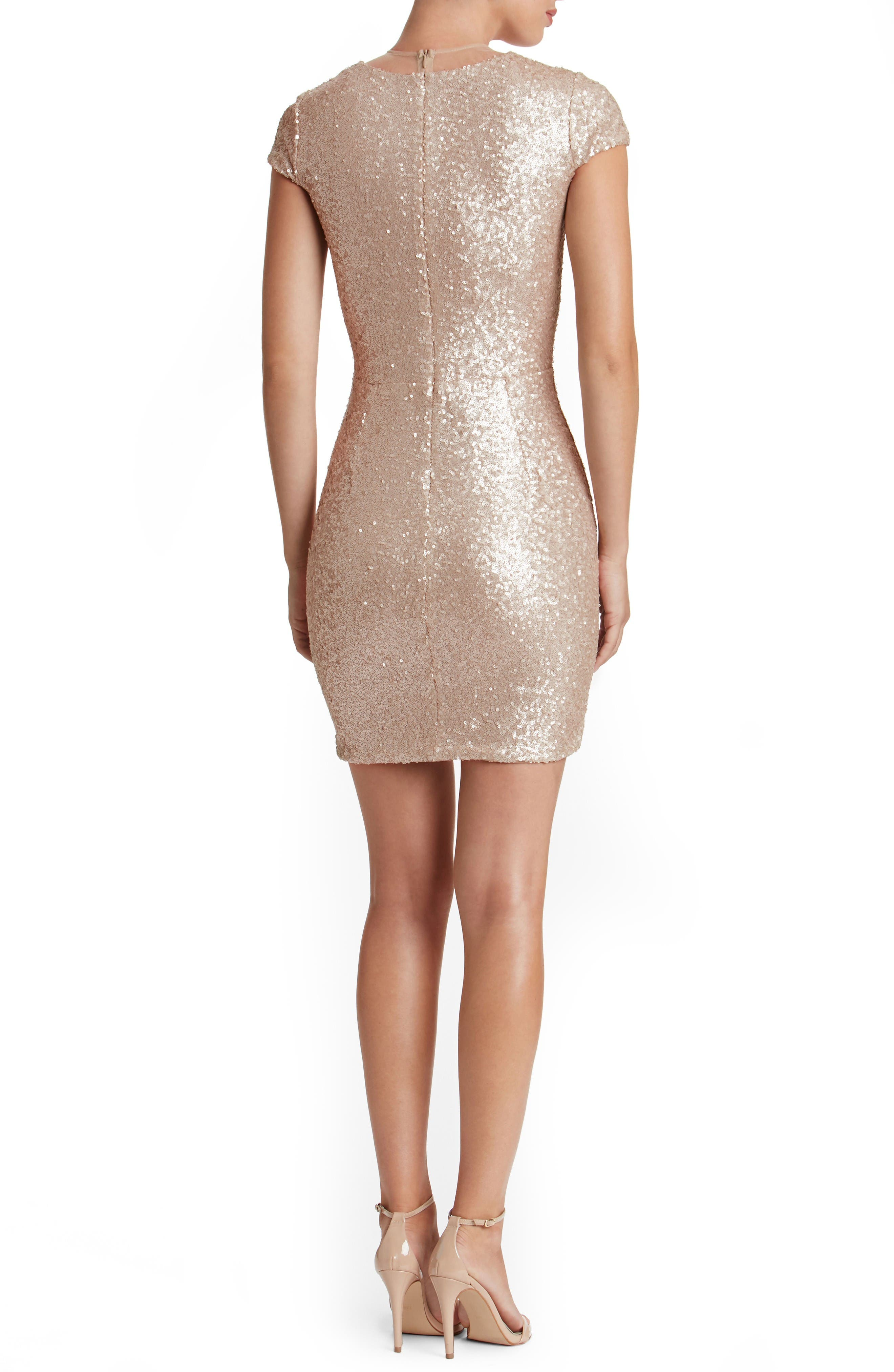 Kylie Sequin Minidress,                             Alternate thumbnail 2, color,                             Pale Blush