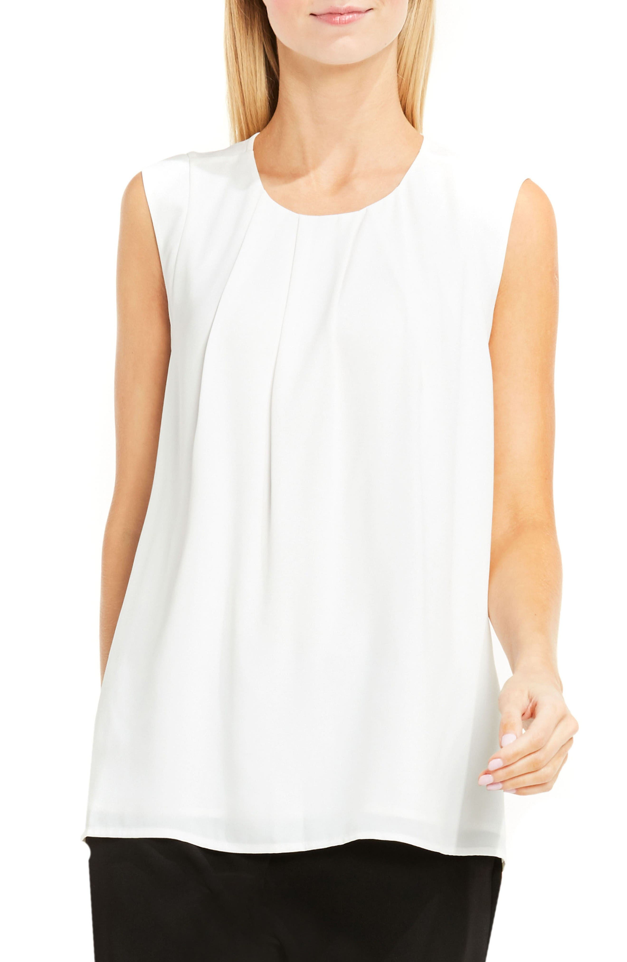 Alternate Image 1 Selected - Vince Camuto Pleat Neck Blouse (Regular & Petite)
