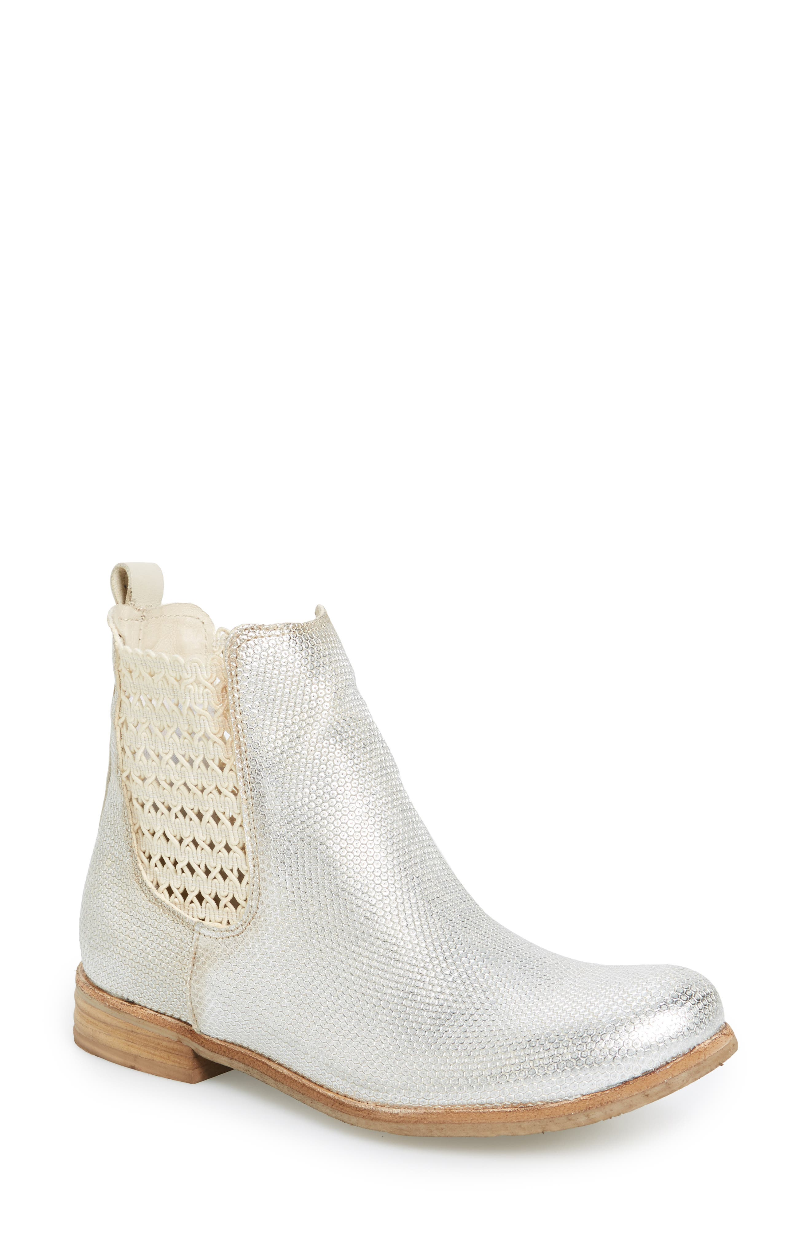 Flicker Boot,                             Main thumbnail 1, color,                             Off White/ Silver Leather