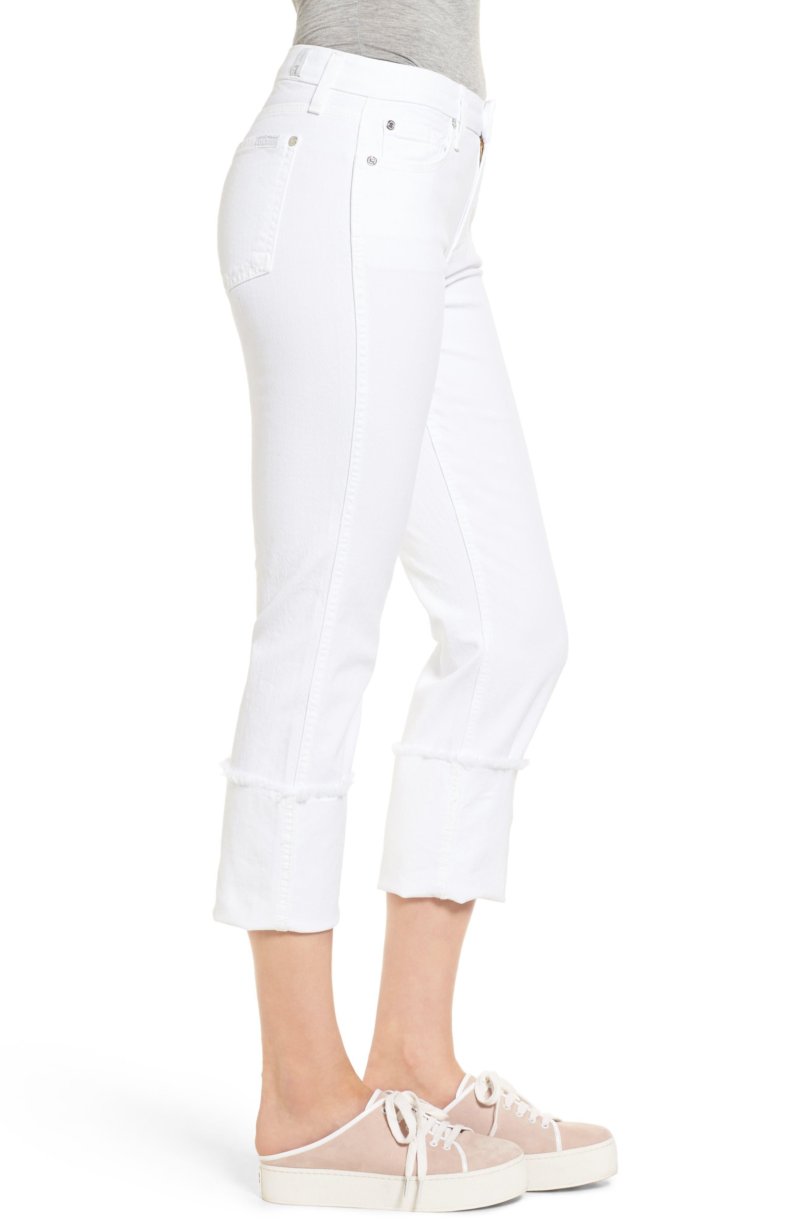 Fashion Boyfriend Raw Cuffed Jeans,                             Alternate thumbnail 3, color,                             White Fashion