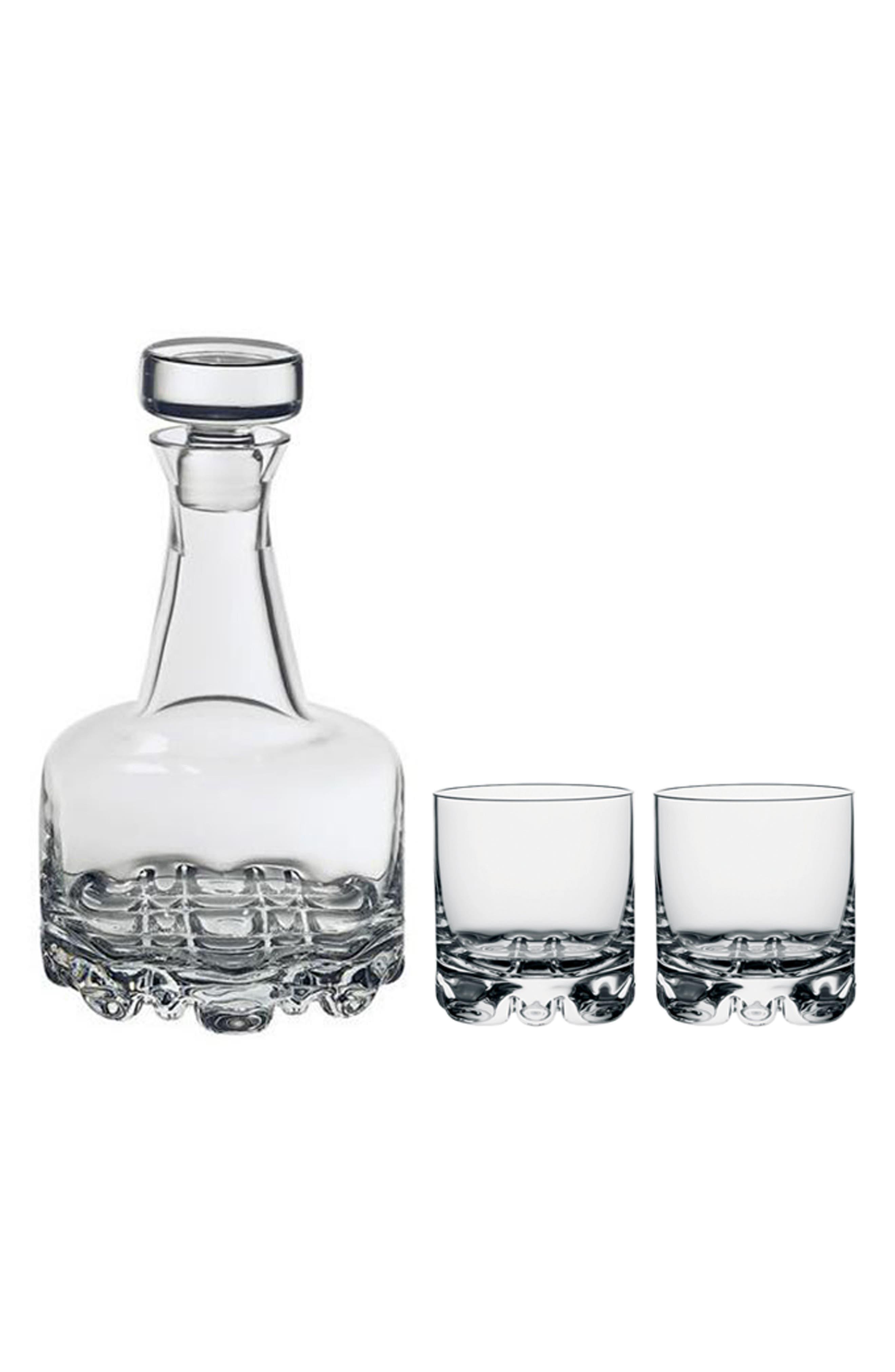 Orrefors Erik 3-Piece Whiskey Decanter Set