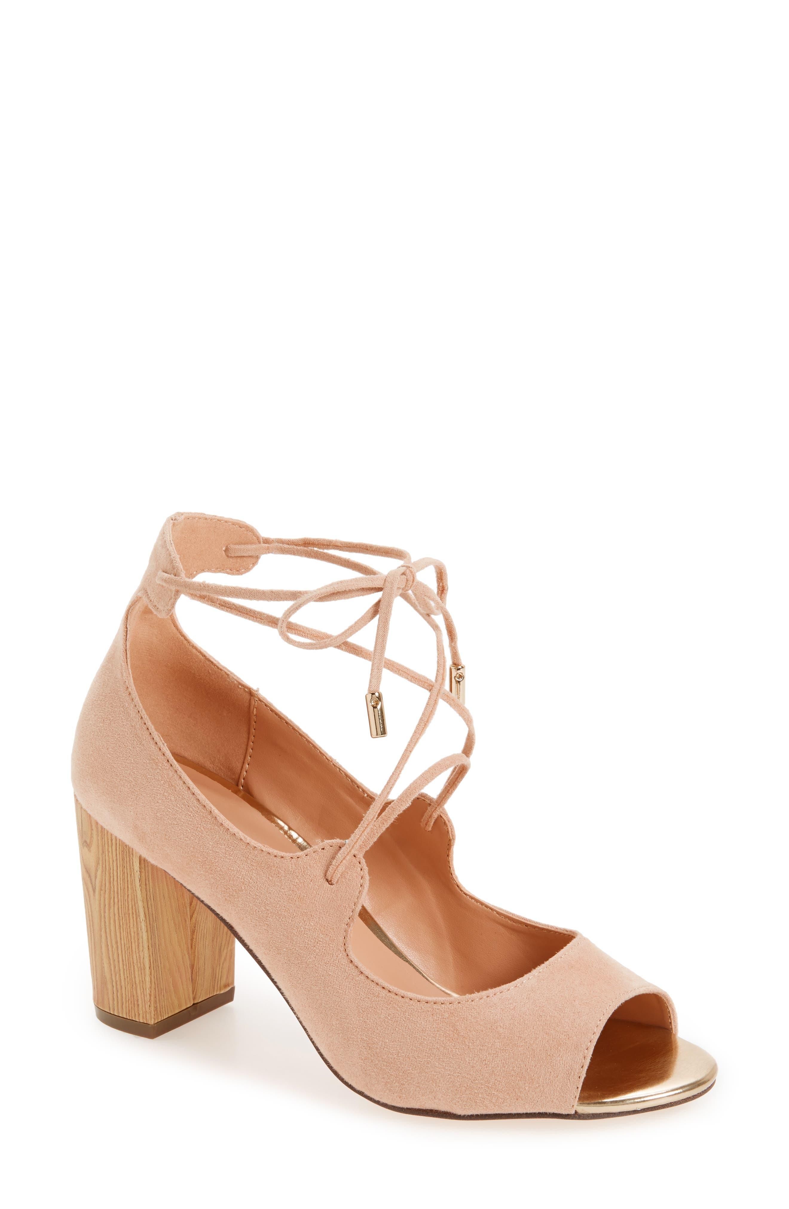Vikki Block Heel Sandal,                         Main,                         color, Nude Faux Suede