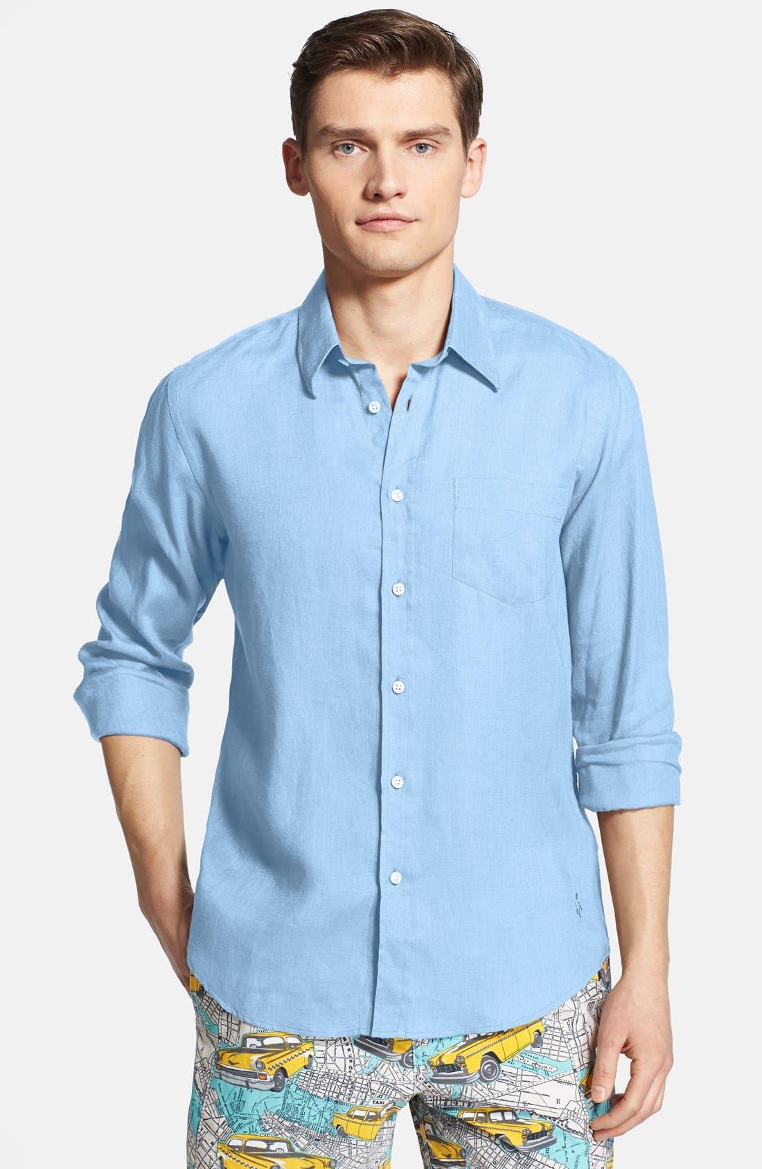 'Caroubier' Linen Shirt,                             Main thumbnail 1, color,                             Sky Blue