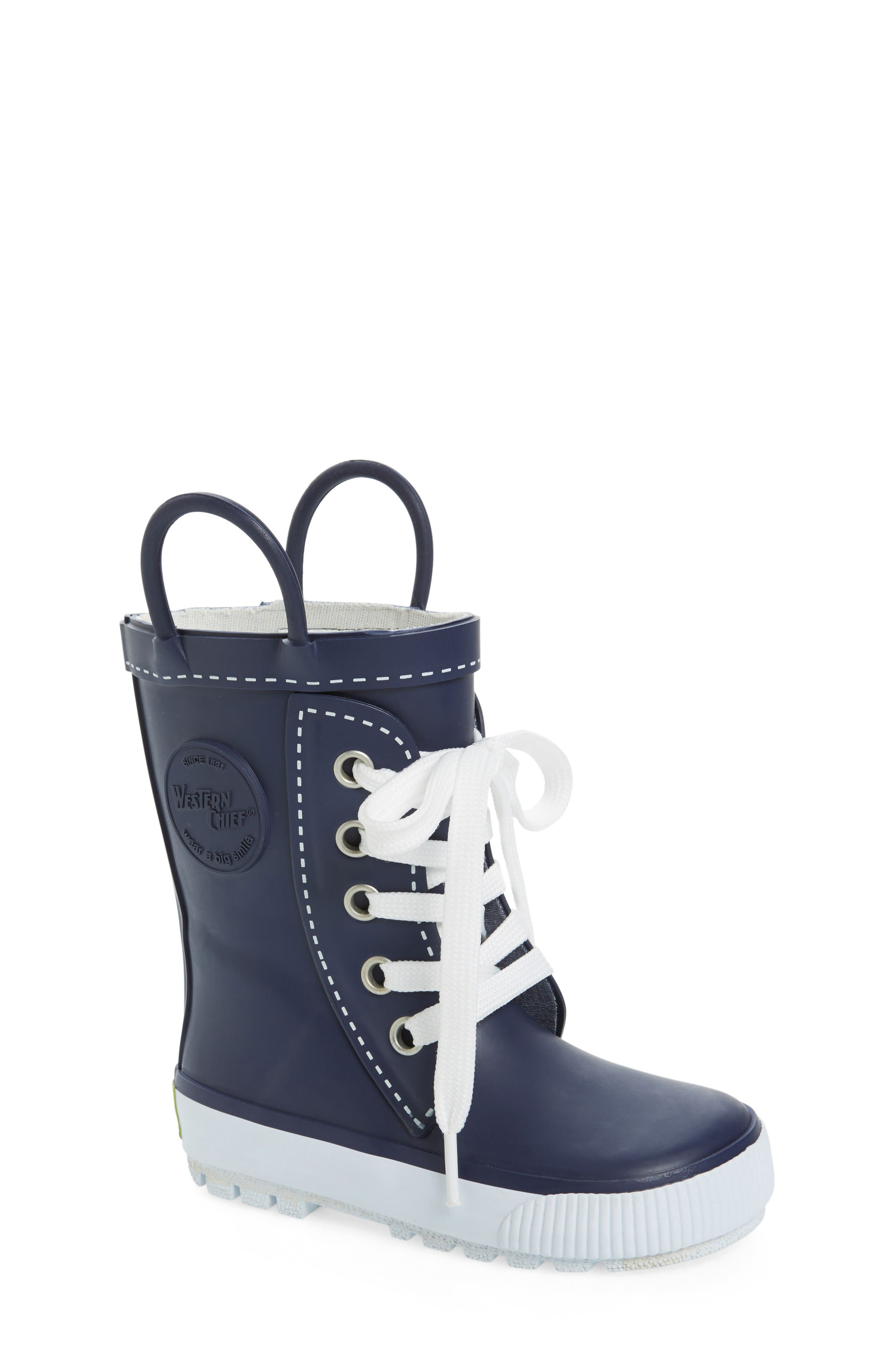Waterproof Sneaker Rain Boot,                             Main thumbnail 1, color,                             Navy