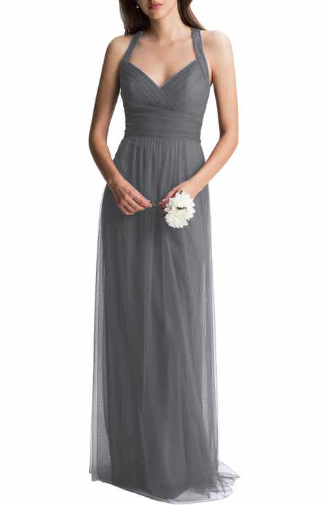 f88d03ae13b  Levkoff Crisscross Strap English Net A-Line Gown