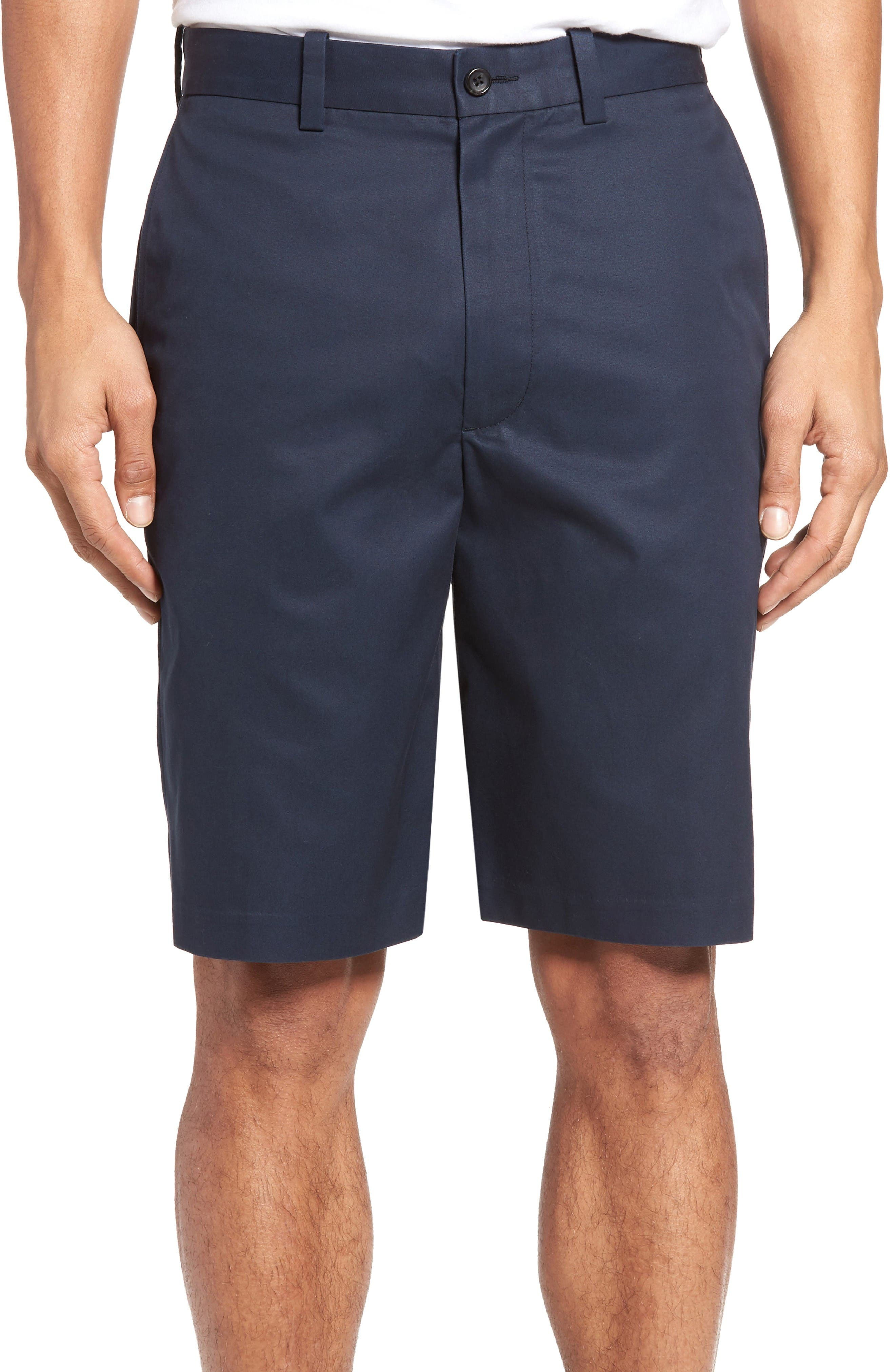 Flat Front Supima<sup>®</sup> Cotton Shorts,                         Main,                         color, Navy Eclipse