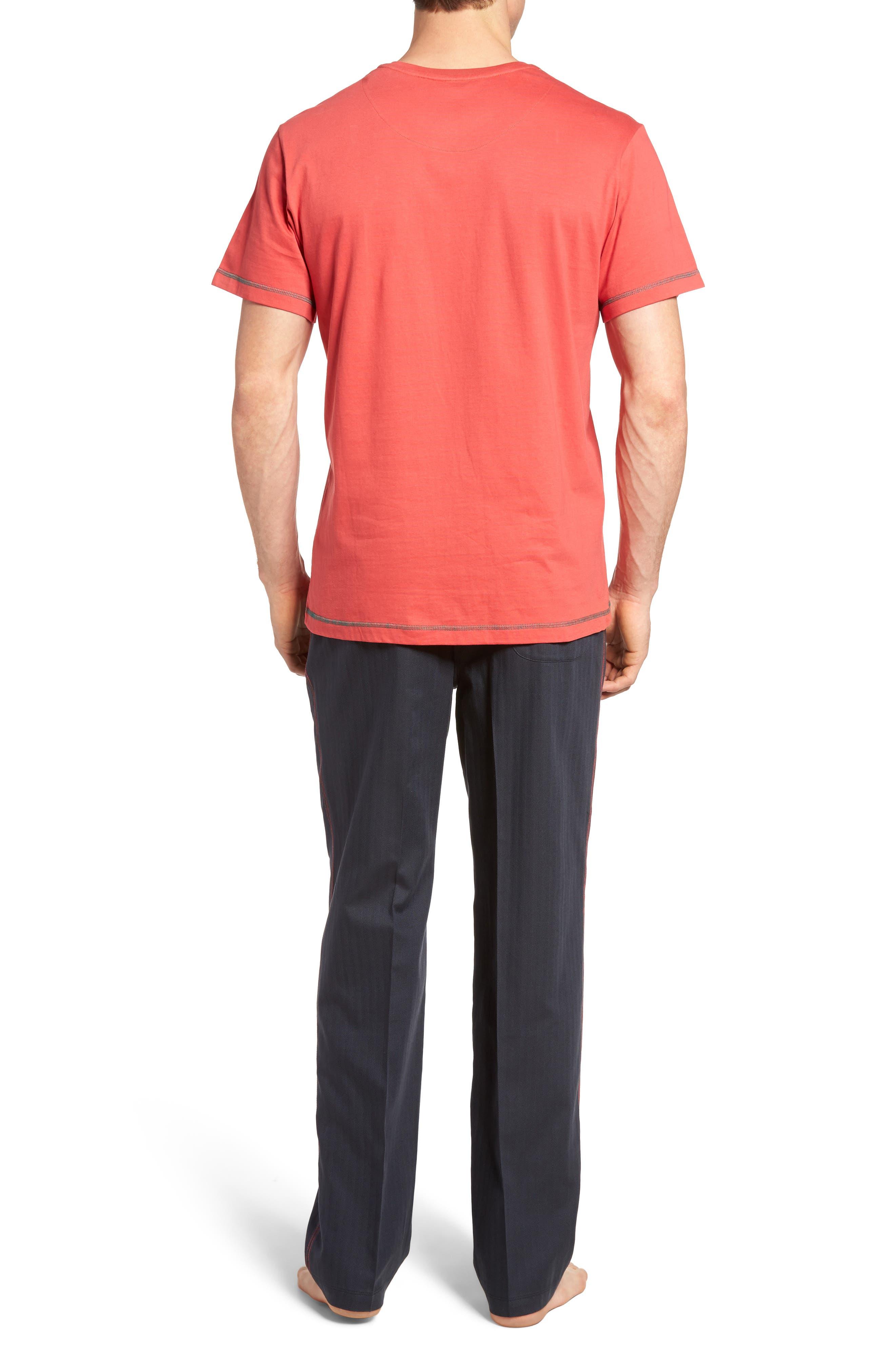 Fusion Pajama Set,                             Alternate thumbnail 2, color,                             Red/ Lead