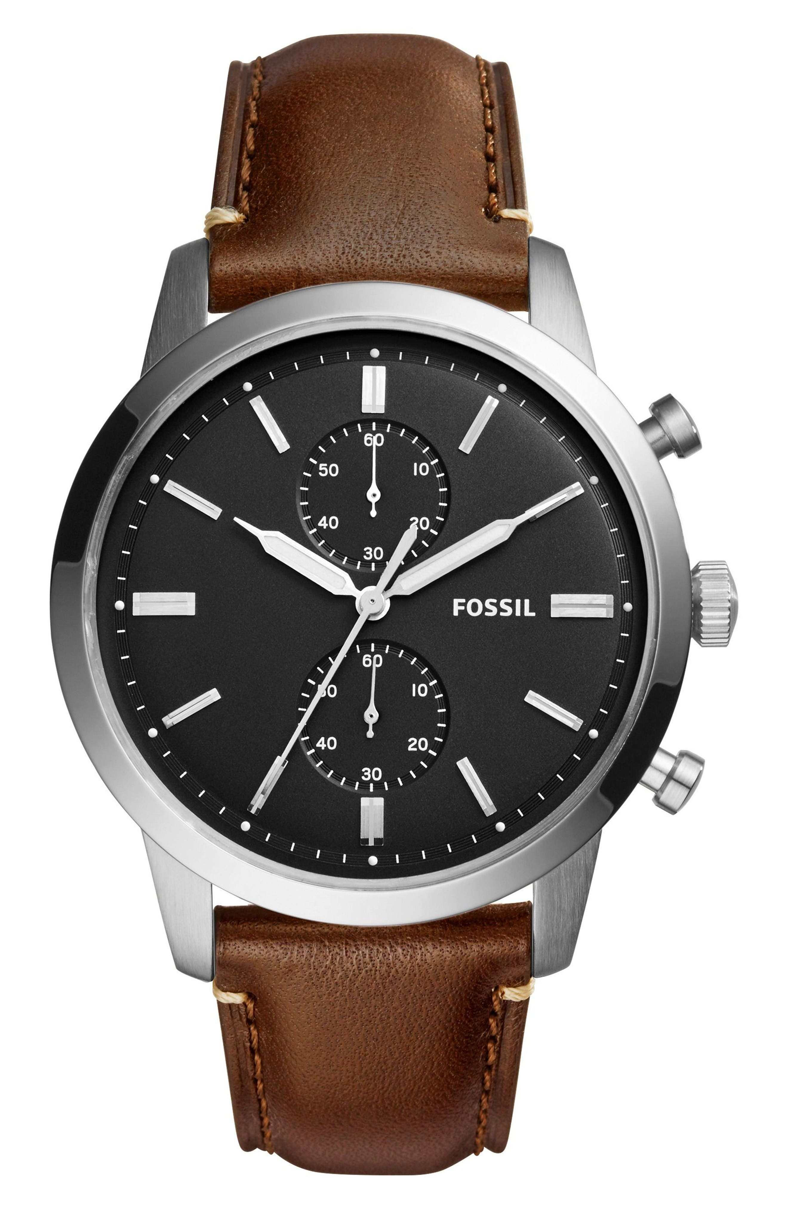 Townsman Chronograph Leather Strap Watch, 44mm,                         Main,                         color, Brown/ Black/ Silver