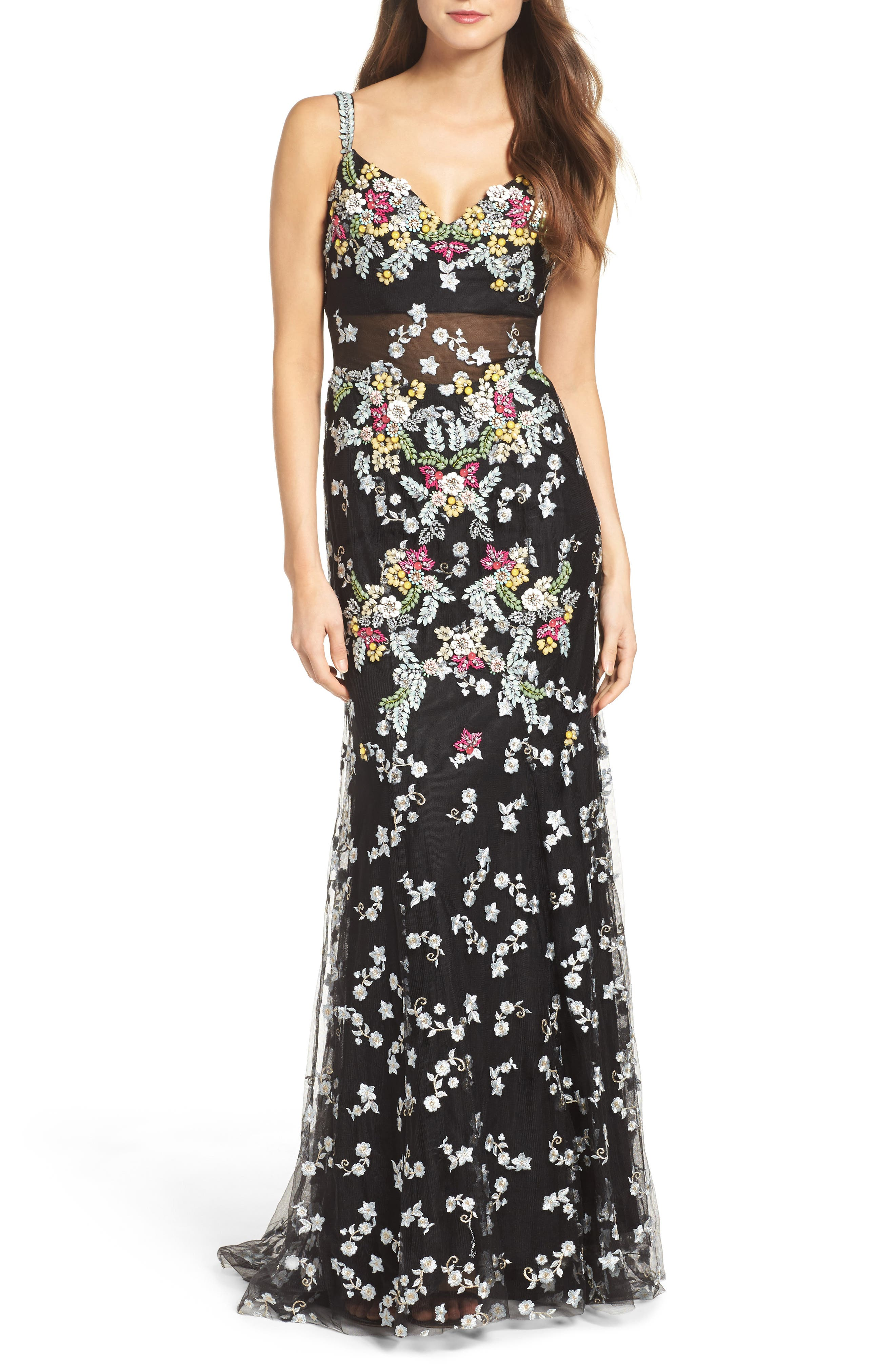 Embroidered Mesh Gown,                             Main thumbnail 1, color,                             Black/ Multi
