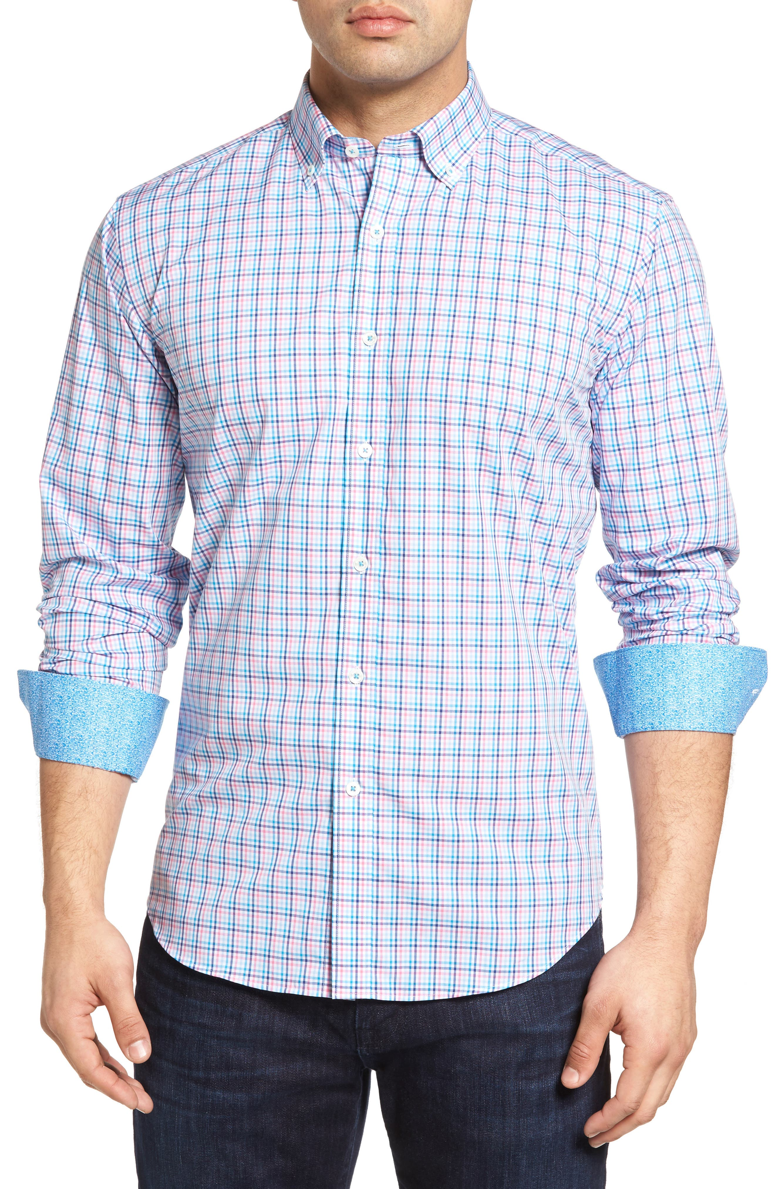 Bugatchi Shaped Fit Check Sport Shirt