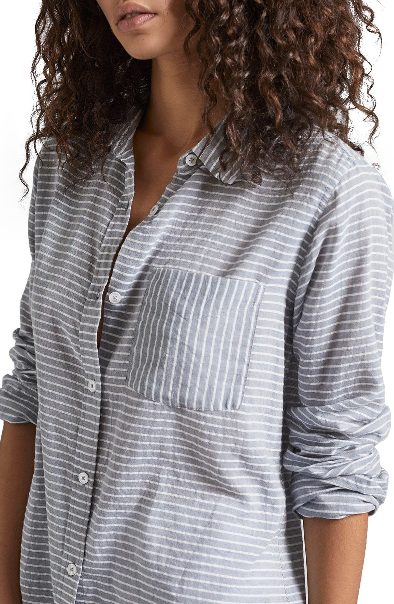 The Boyfriend Shirt,                             Main thumbnail 1, color,                             Stripe Chambray