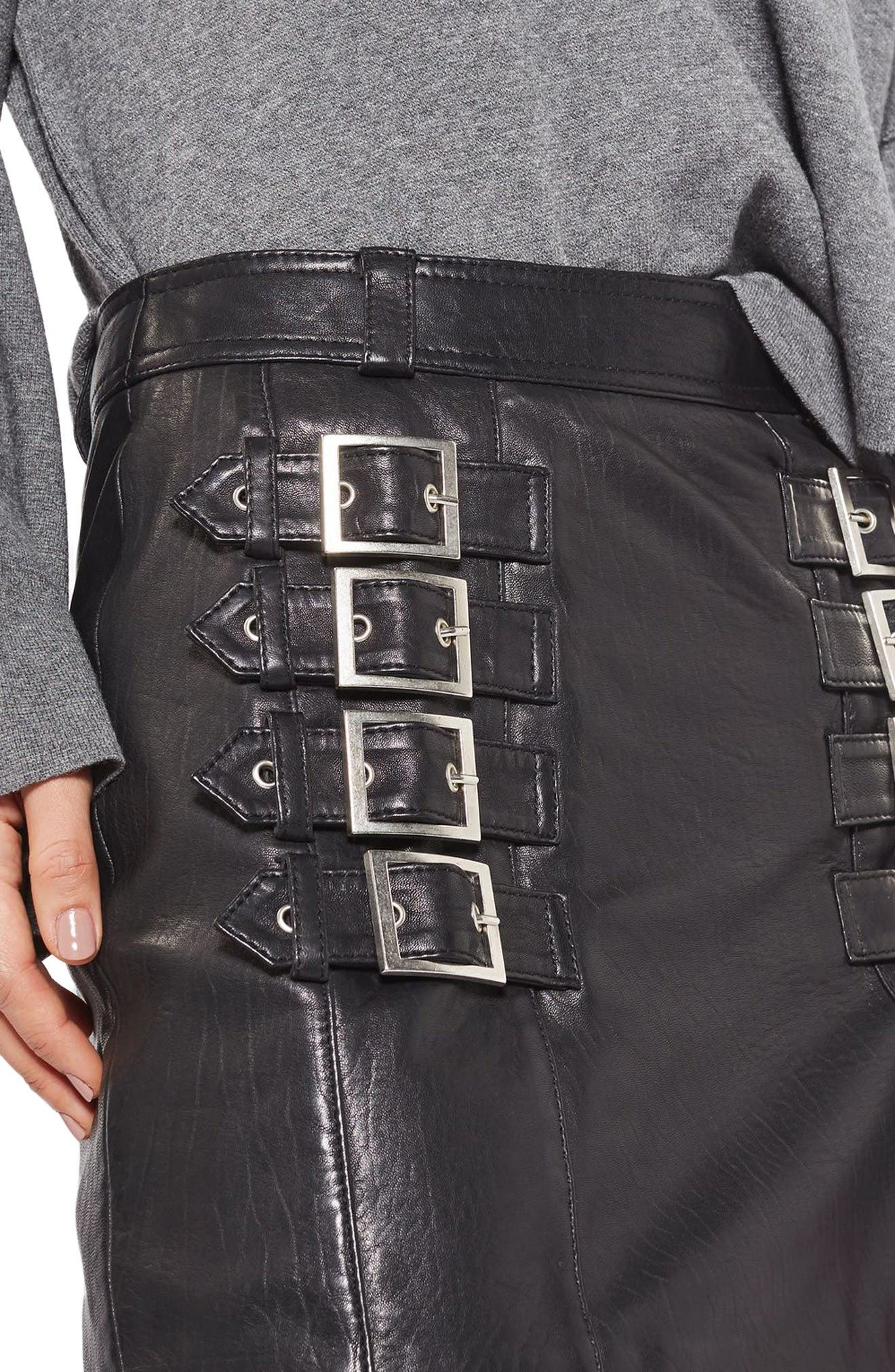 Alternate Image 5  - Topshop Buckle Detail Leather Miniskirt