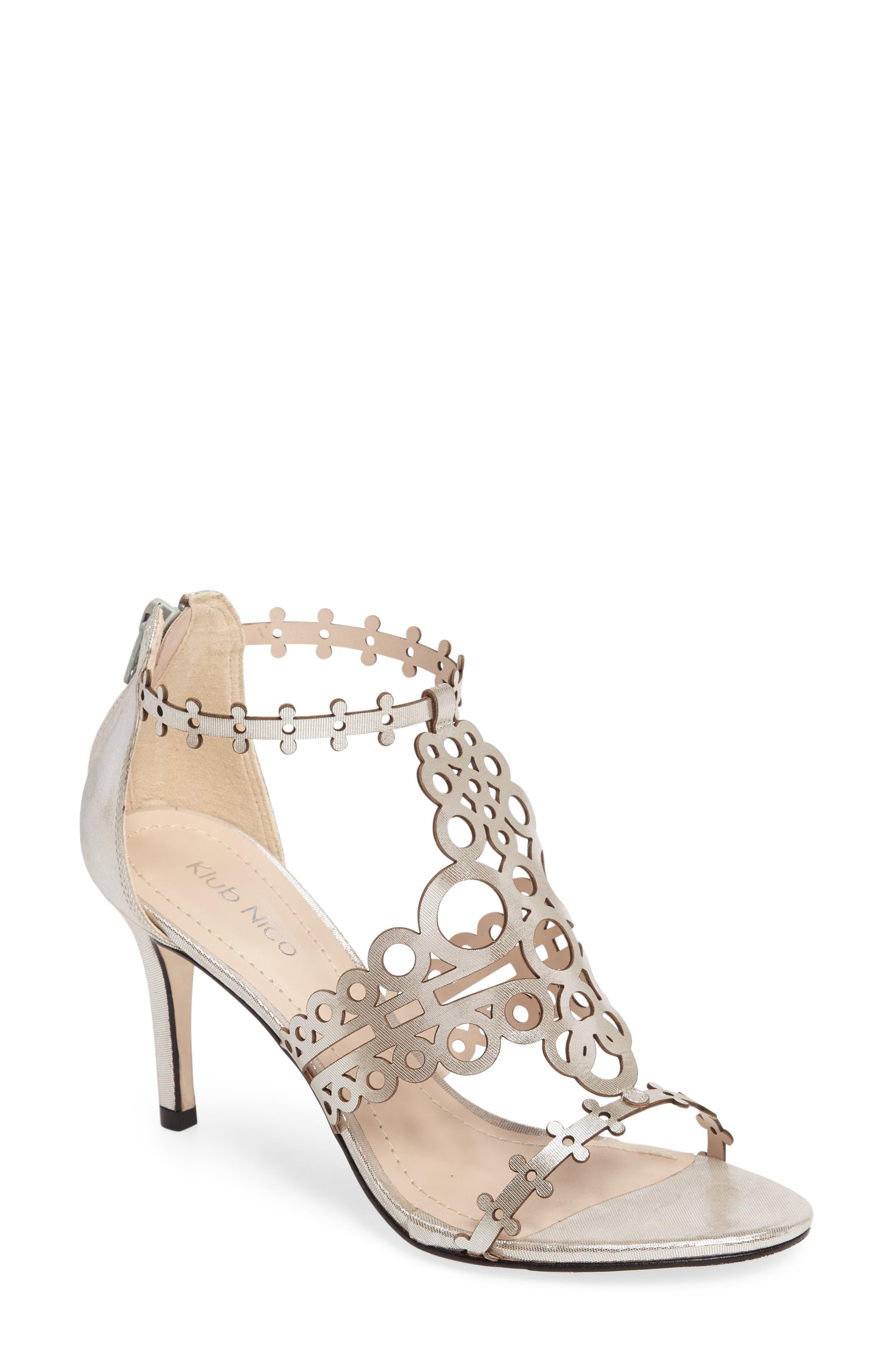 'Antonia' Laser Cut T-Strap Sandal,                             Main thumbnail 1, color,                             Silver Leather