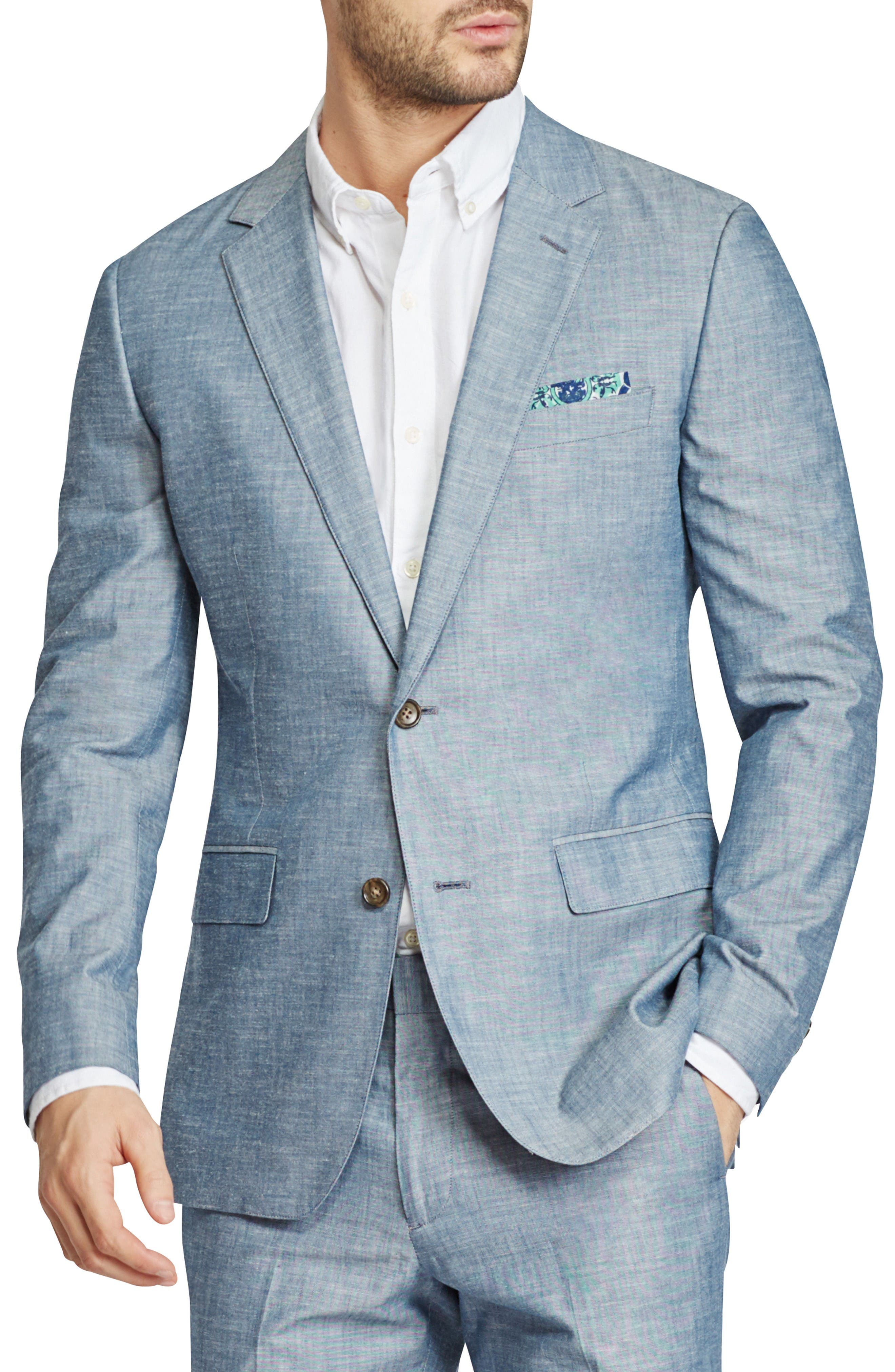 Trim Fit Chambray Cotton Blazer,                         Main,                         color, Solid Blue