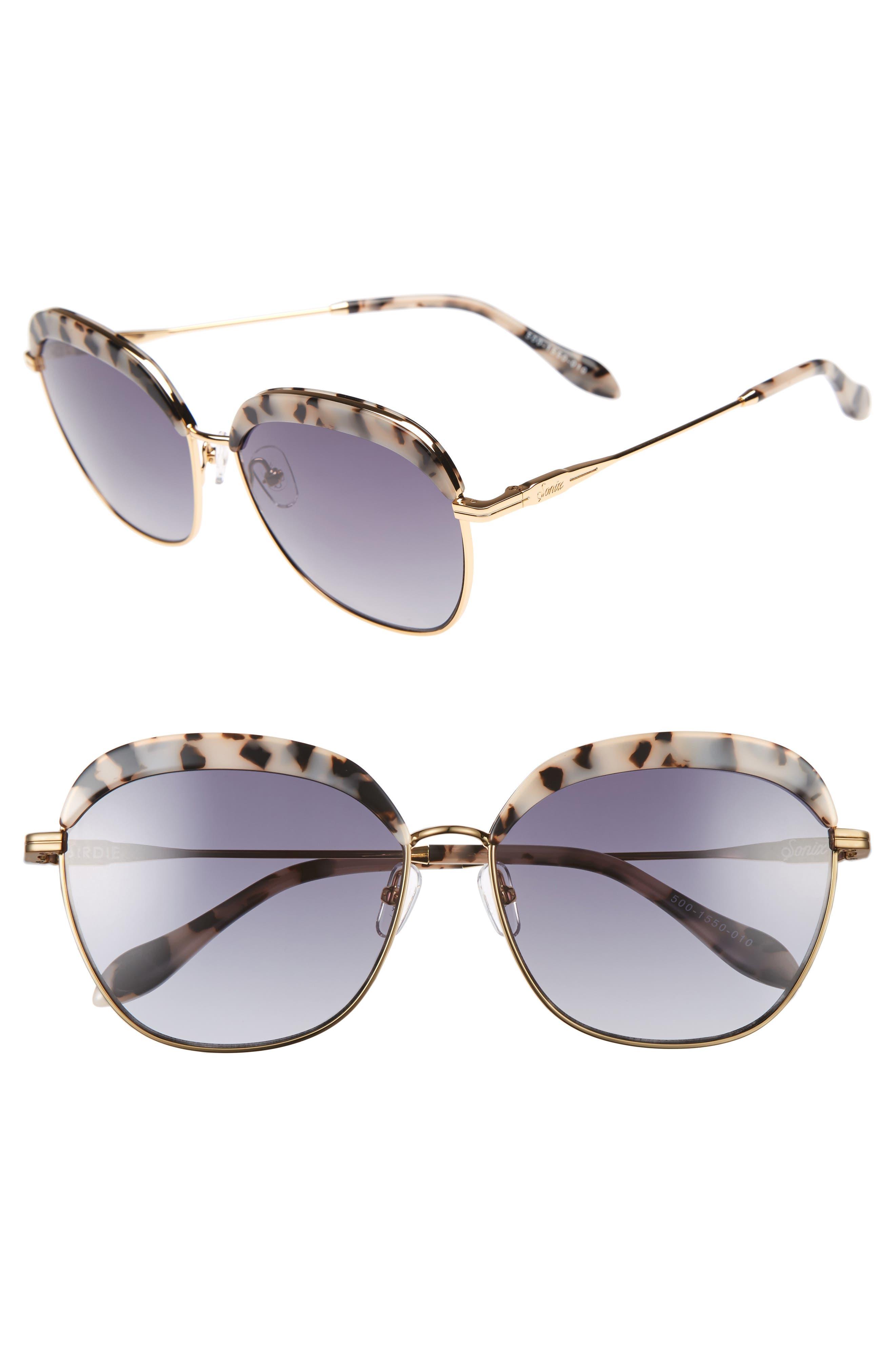 Birdie 60mm Oversize Sunglasses,                         Main,                         color, Milk Tort/ Black Fade