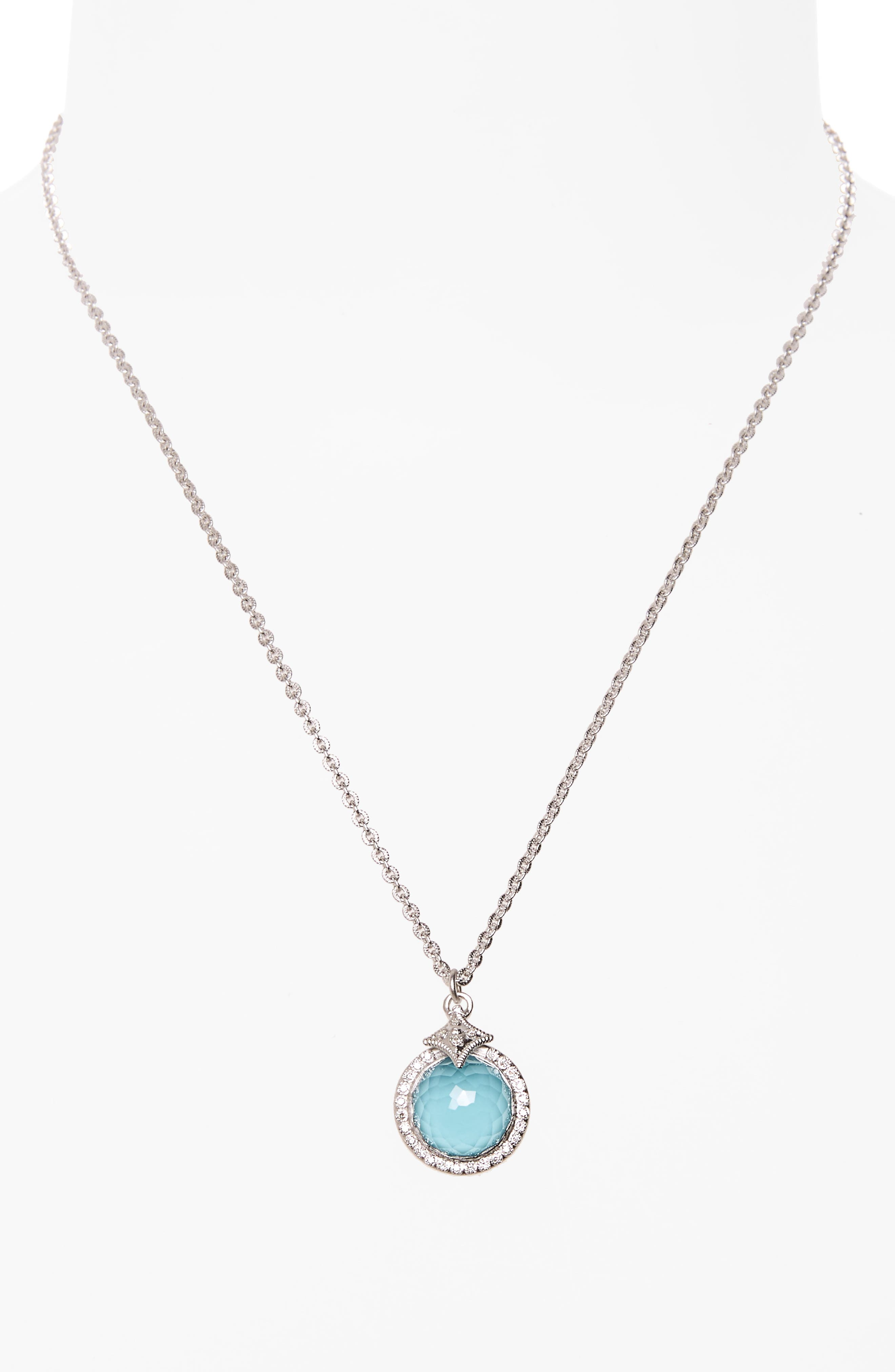 New World Turquoise Pendant Necklace,                             Alternate thumbnail 2, color,                             Silver