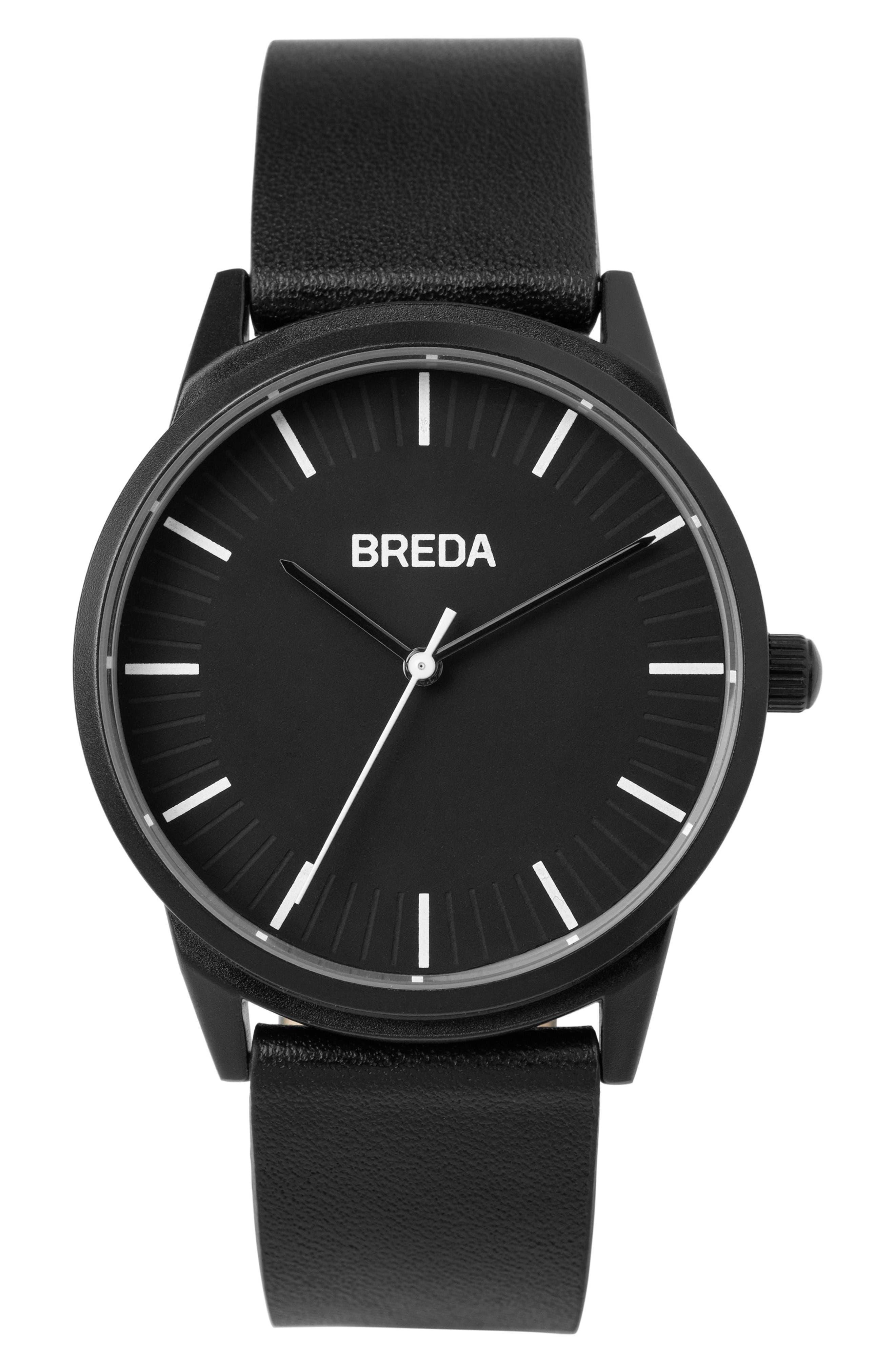 Bresson Leather Strap Watch, 42mm,                         Main,                         color, Black/ Black