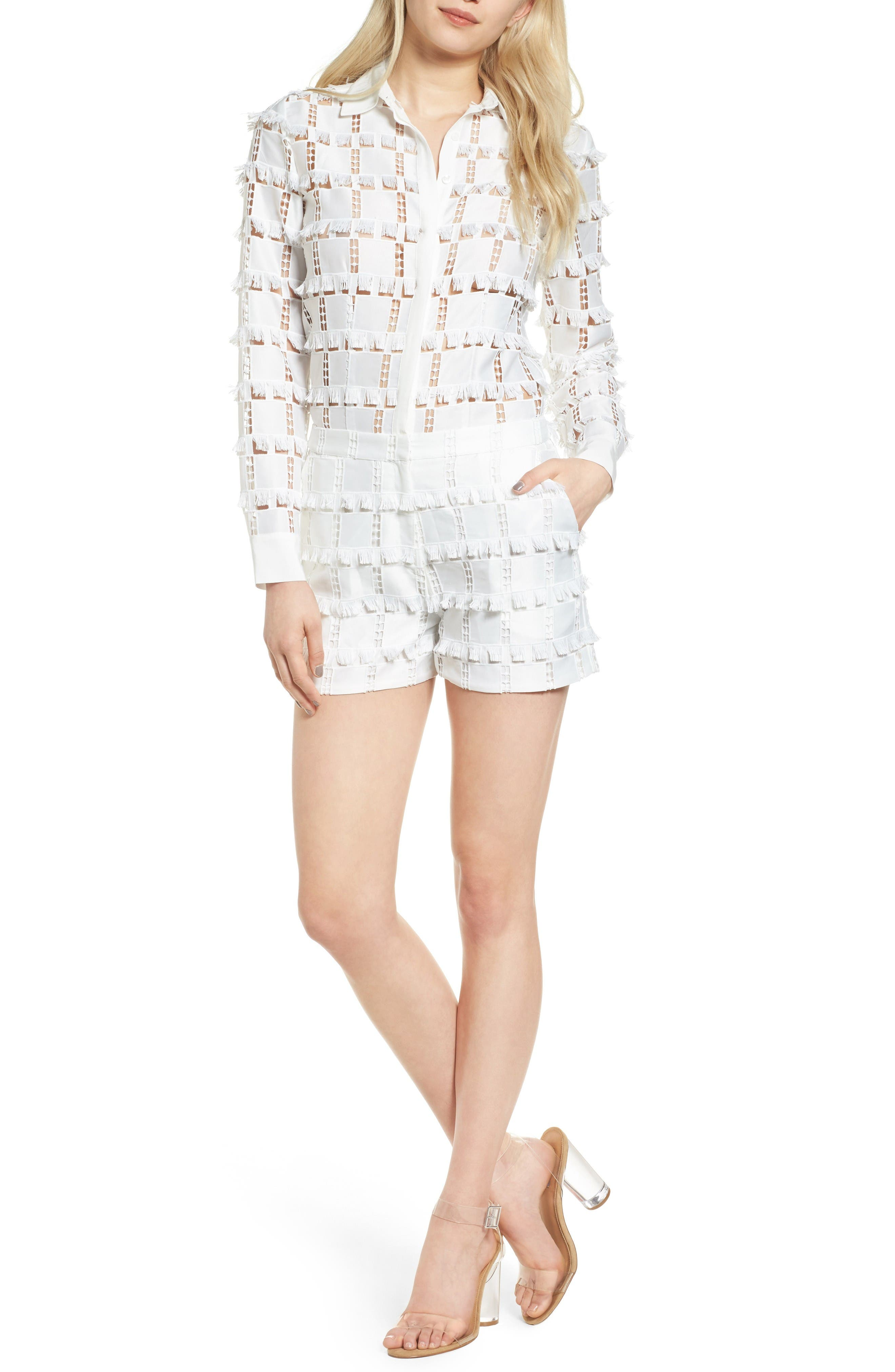 Lace Romper,                         Main,                         color, White