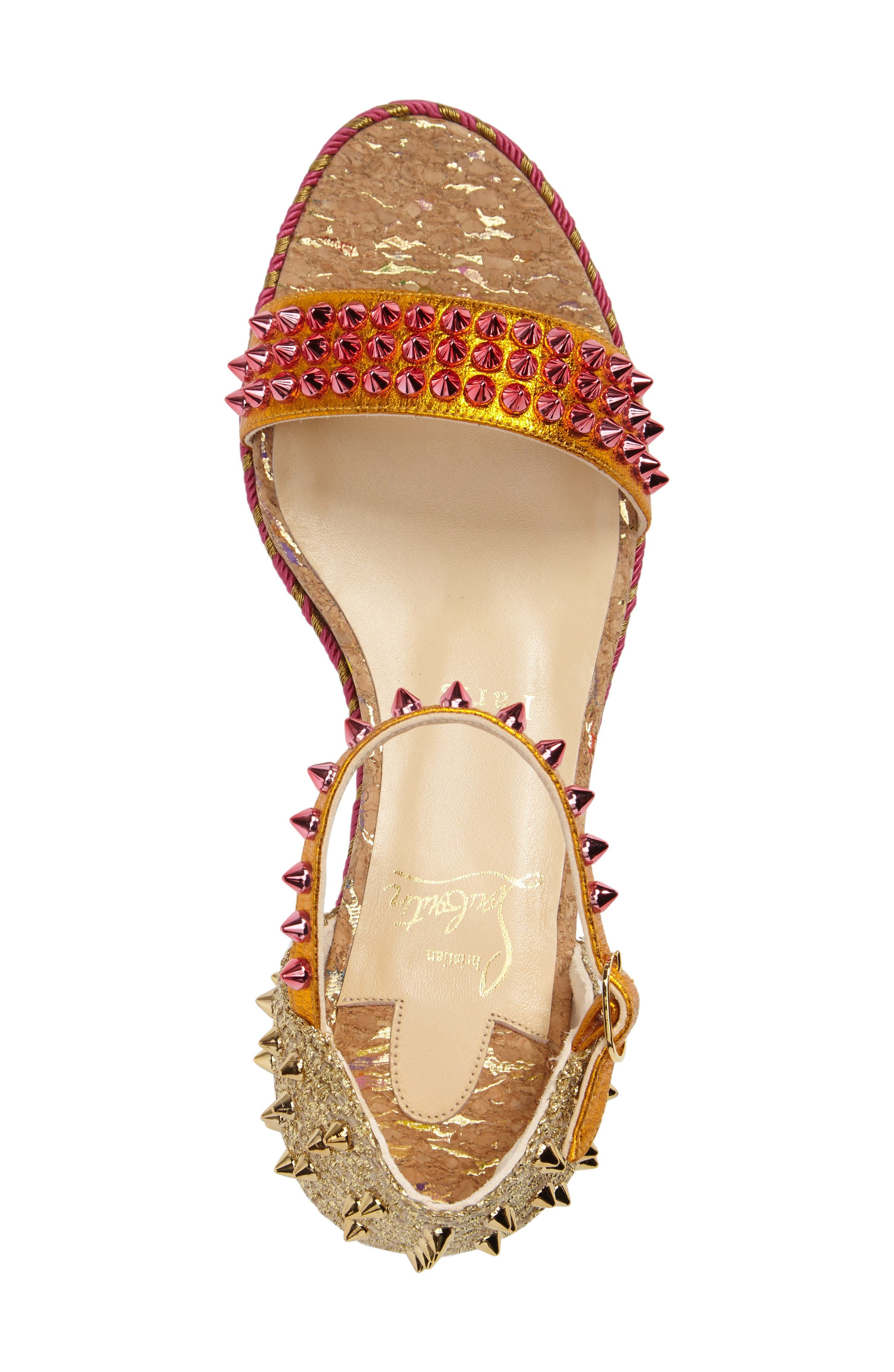 Madmonica Espadrille Platform Sandal,                             Alternate thumbnail 3, color,                             Orange Multi Leather