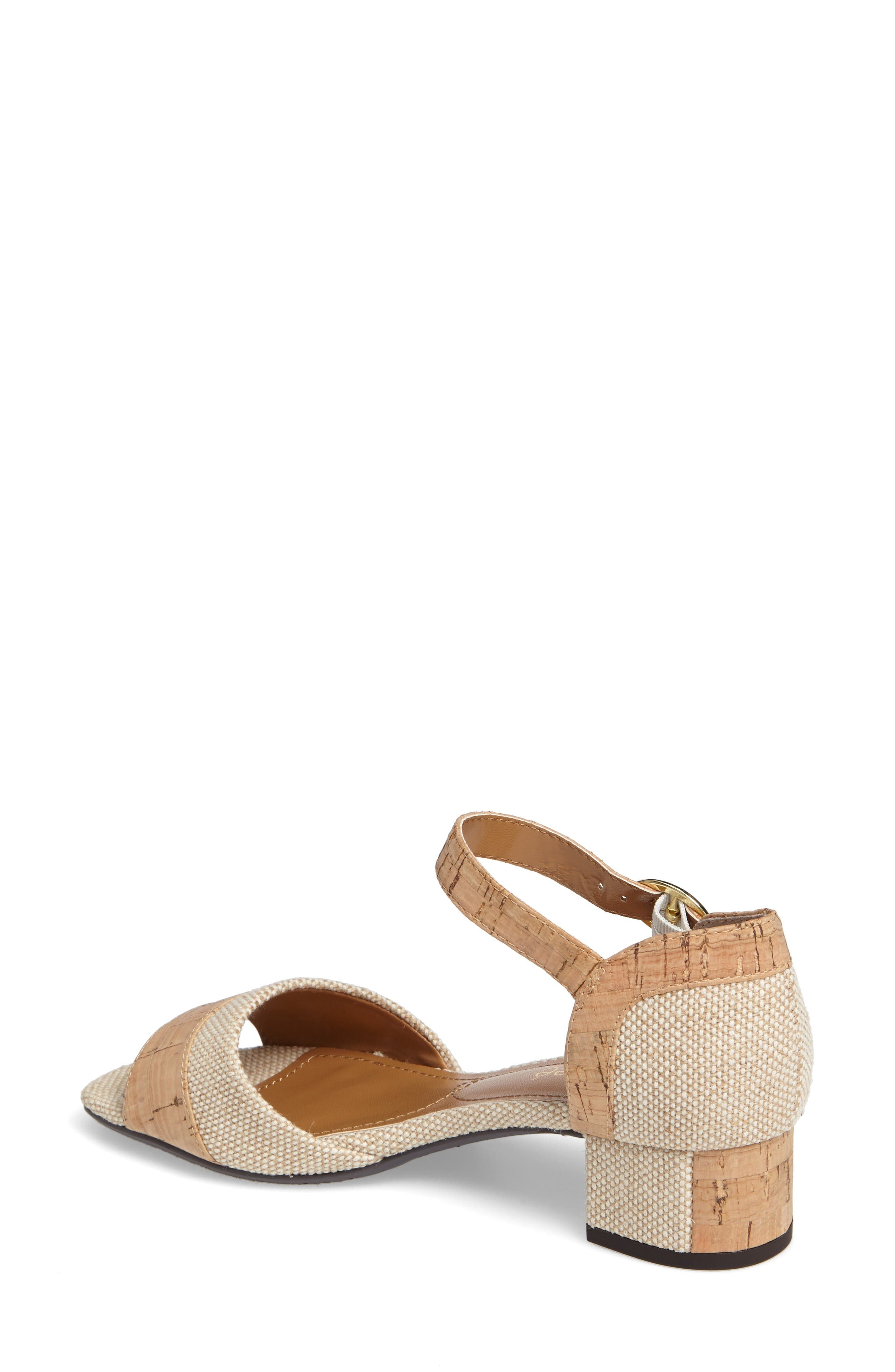 Pebblebeach Block Heel Sandal,                             Alternate thumbnail 2, color,                             Natural/ Cork Fabric