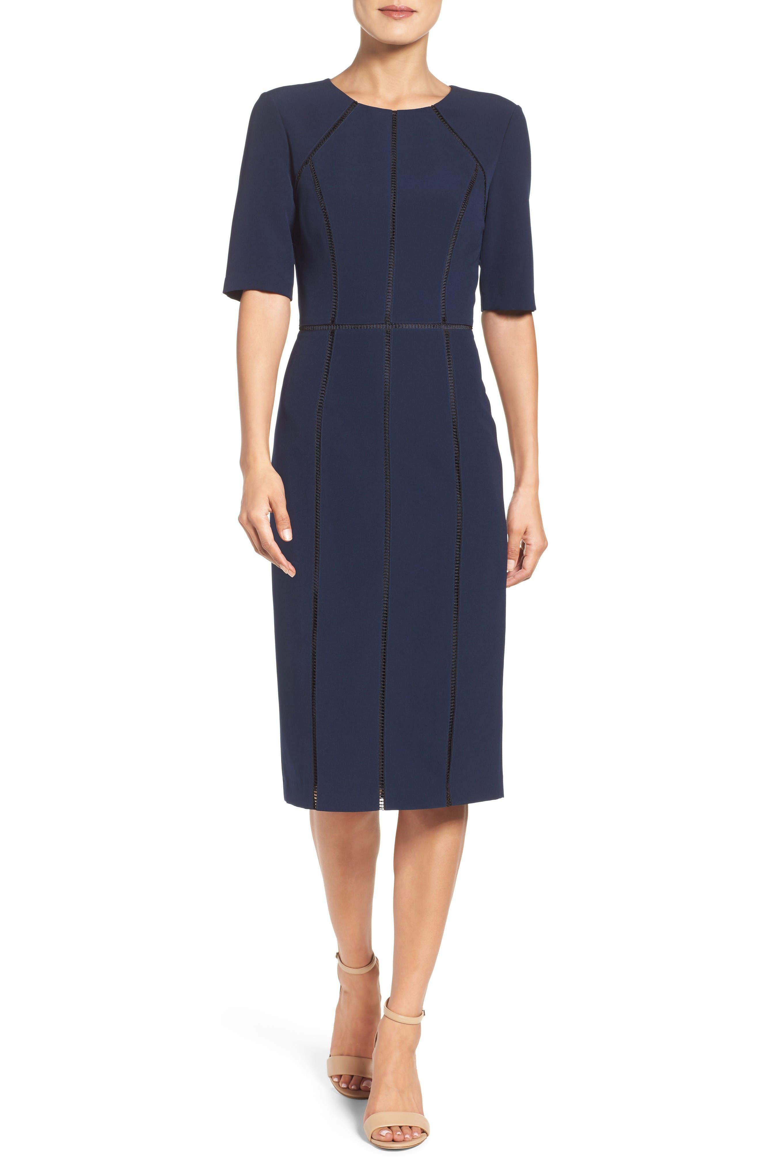Solid Dream Crepe Dress,                             Main thumbnail 1, color,                             Patriot Blue
