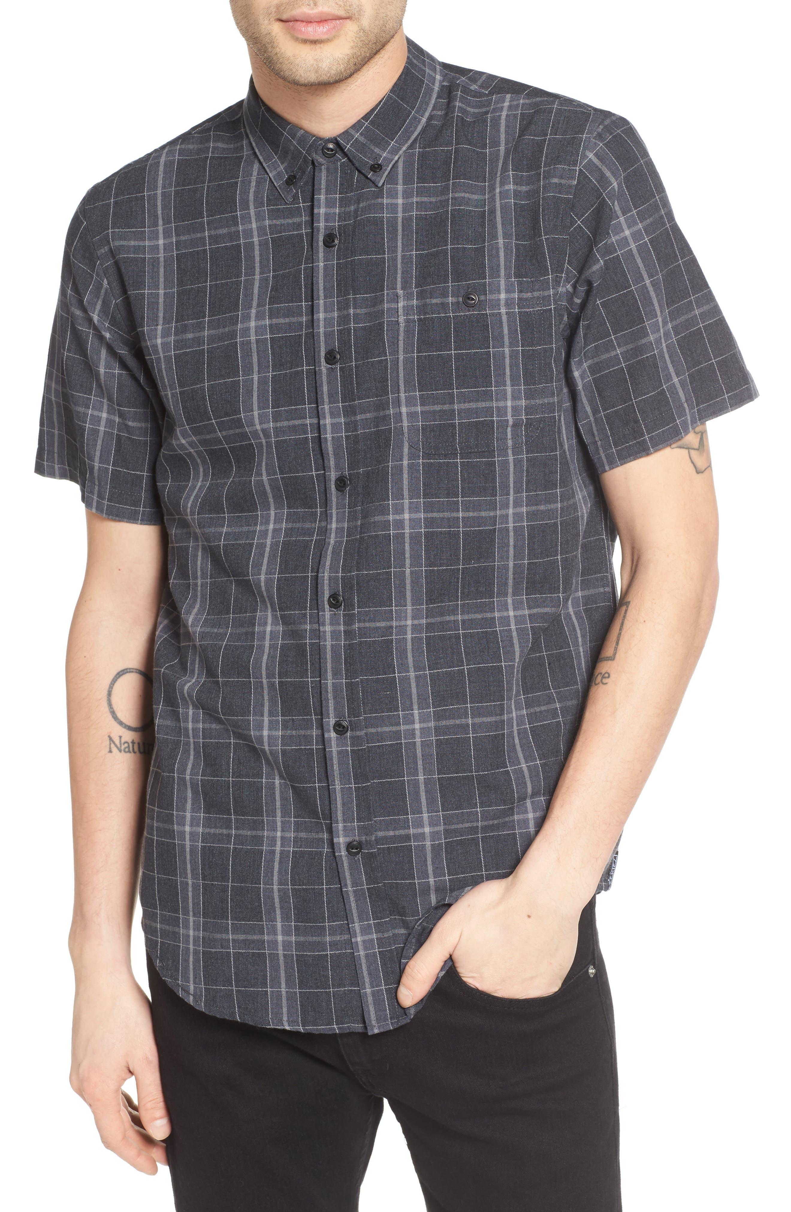 Plaid Woven Shirt,                         Main,                         color, Black