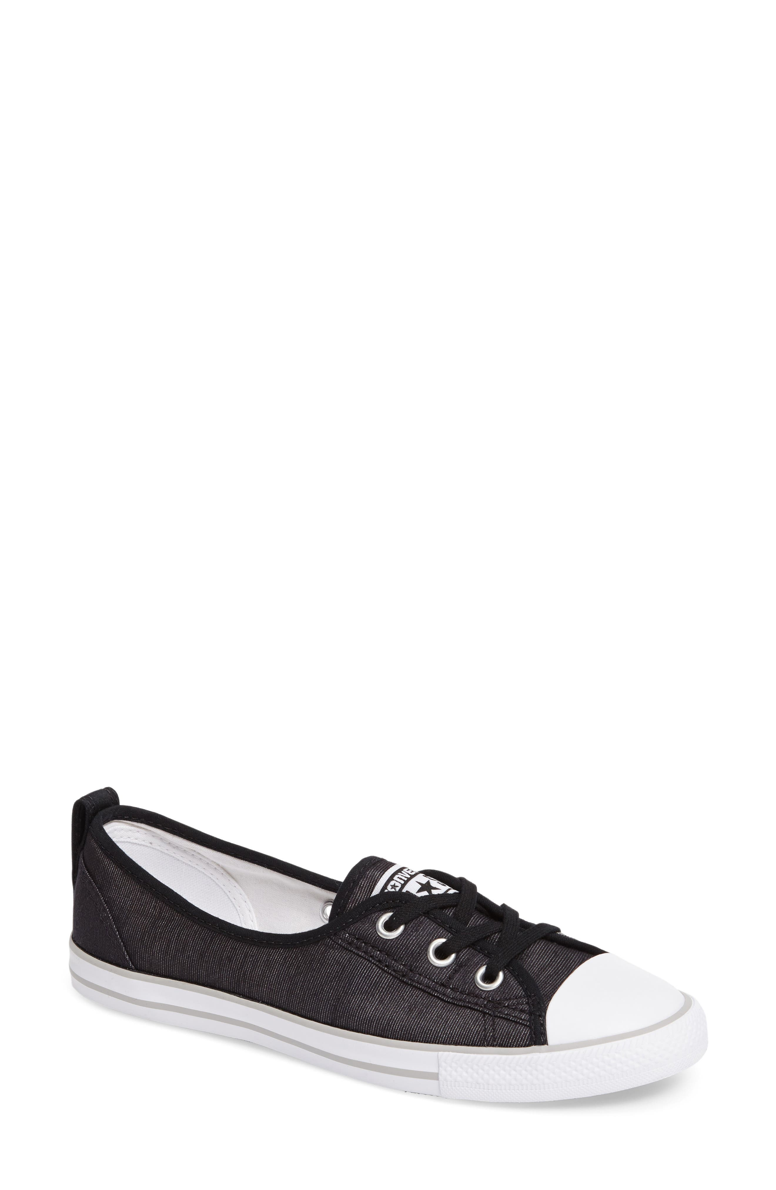 Chuck Taylor<sup>®</sup> All Star<sup>®</sup> Ballet Canvas Sneaker,                         Main,                         color, Black/ White/ Mouse