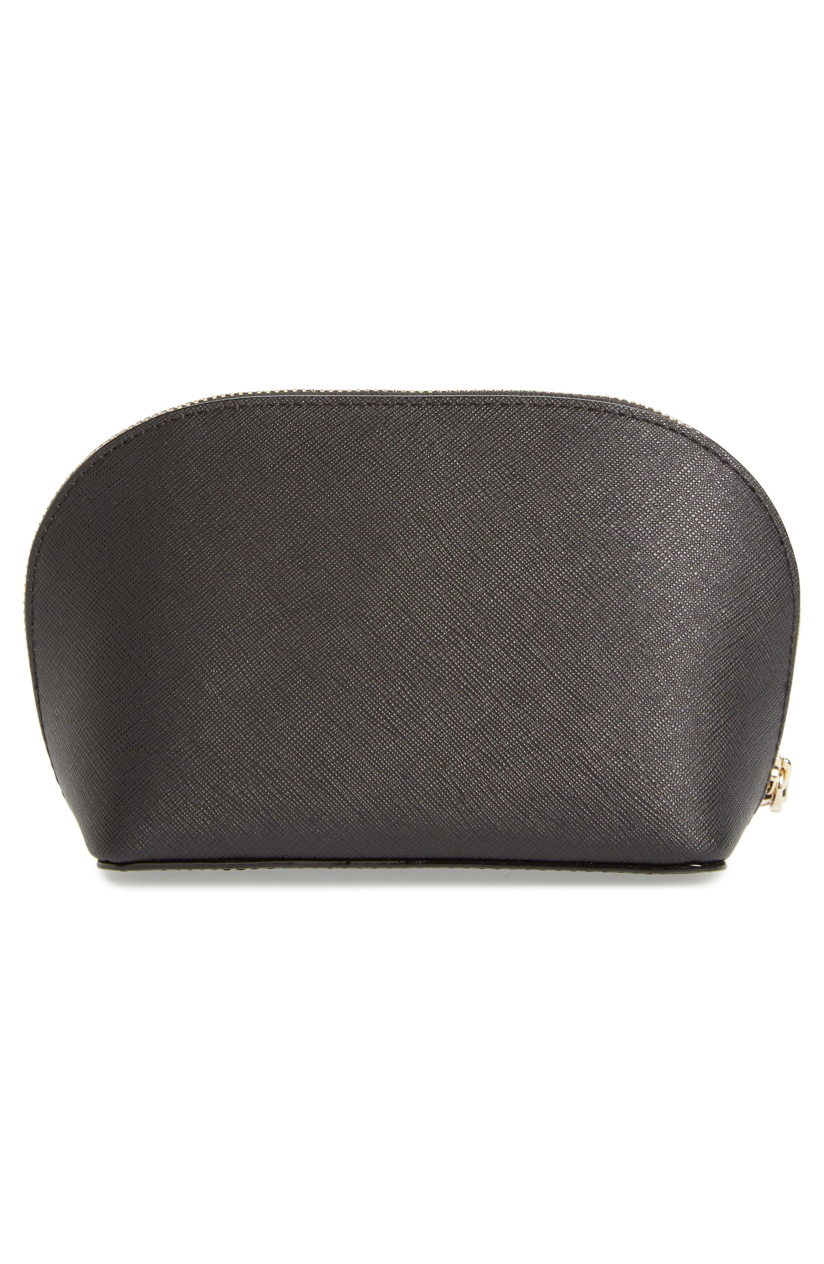cameron street - small abalene leather cosmetics bag,                             Alternate thumbnail 2, color,                             Black