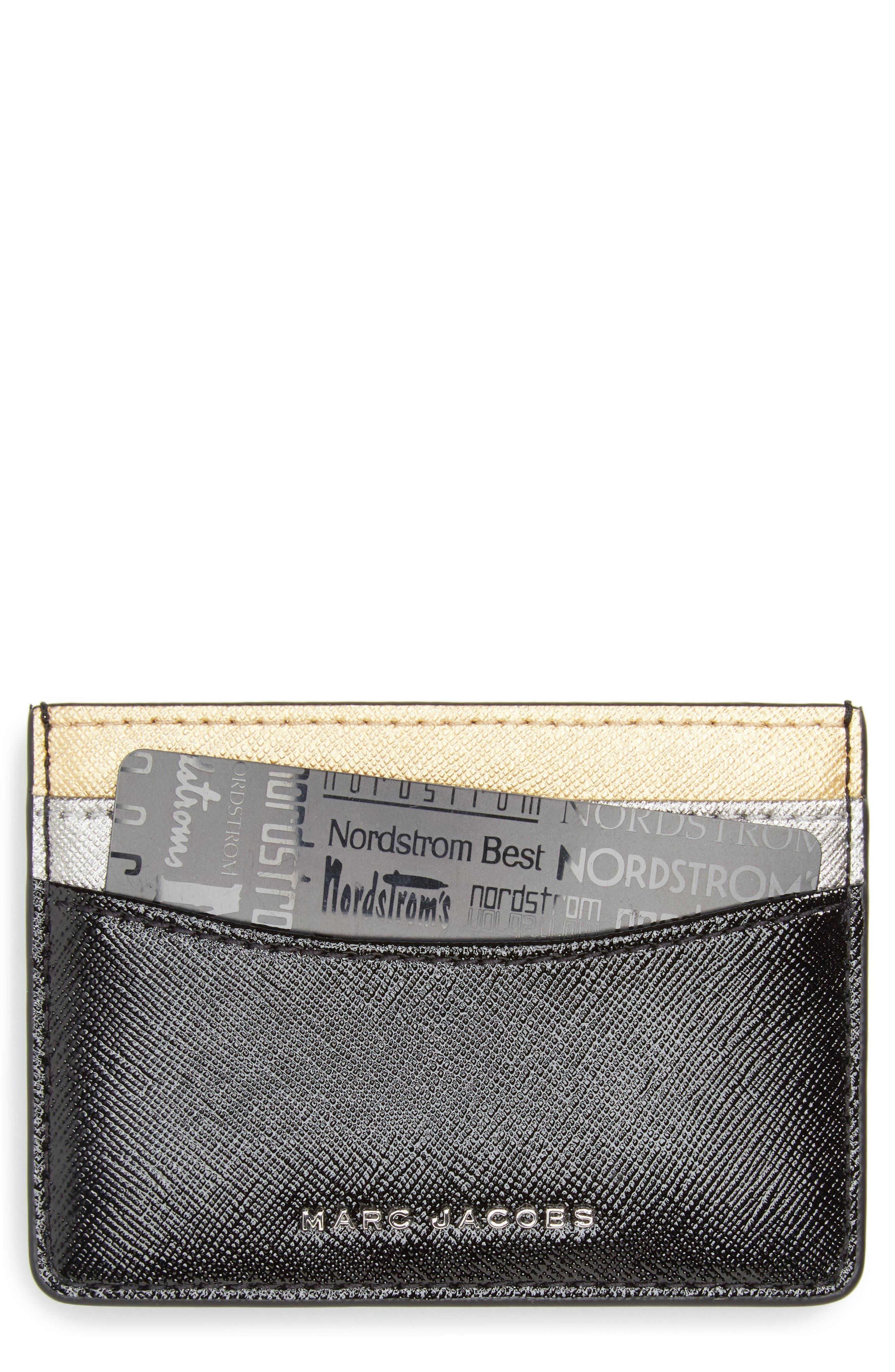 MARC JACOBS Tricolor Saffiano Leather Card Case