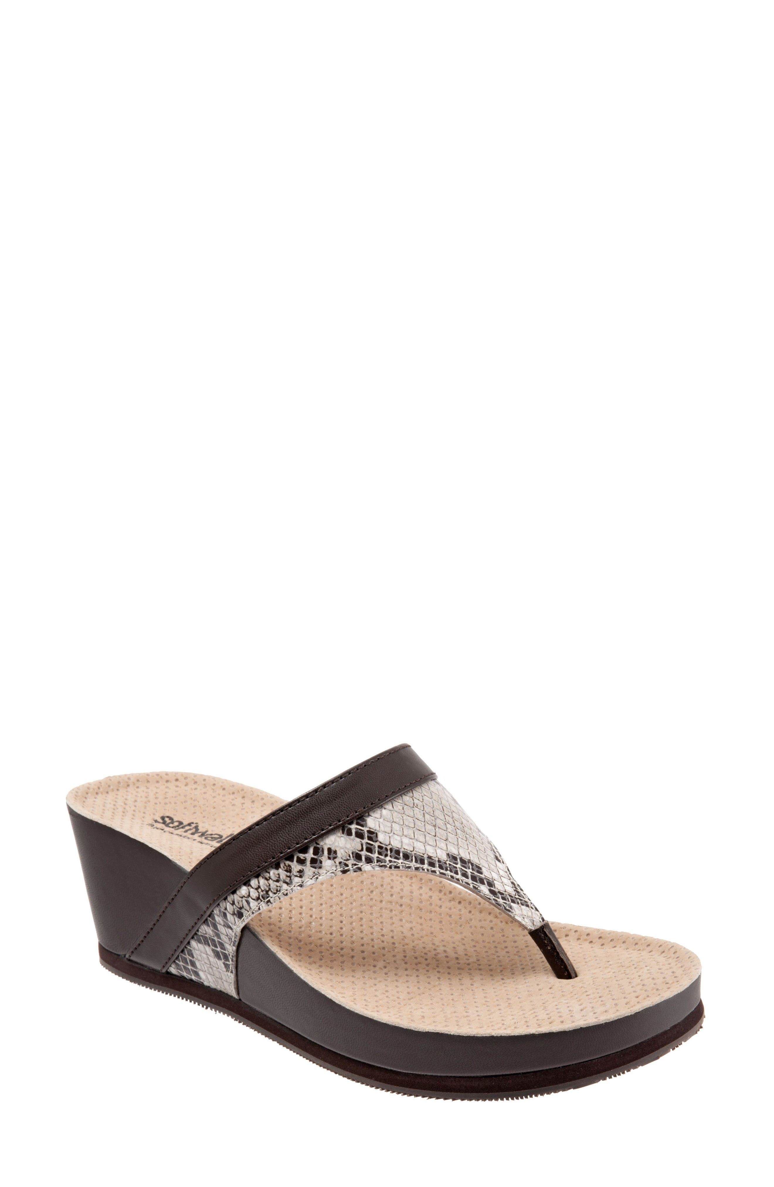 Heights Wedge Slide Sandal,                             Main thumbnail 1, color,                             Brown Leather