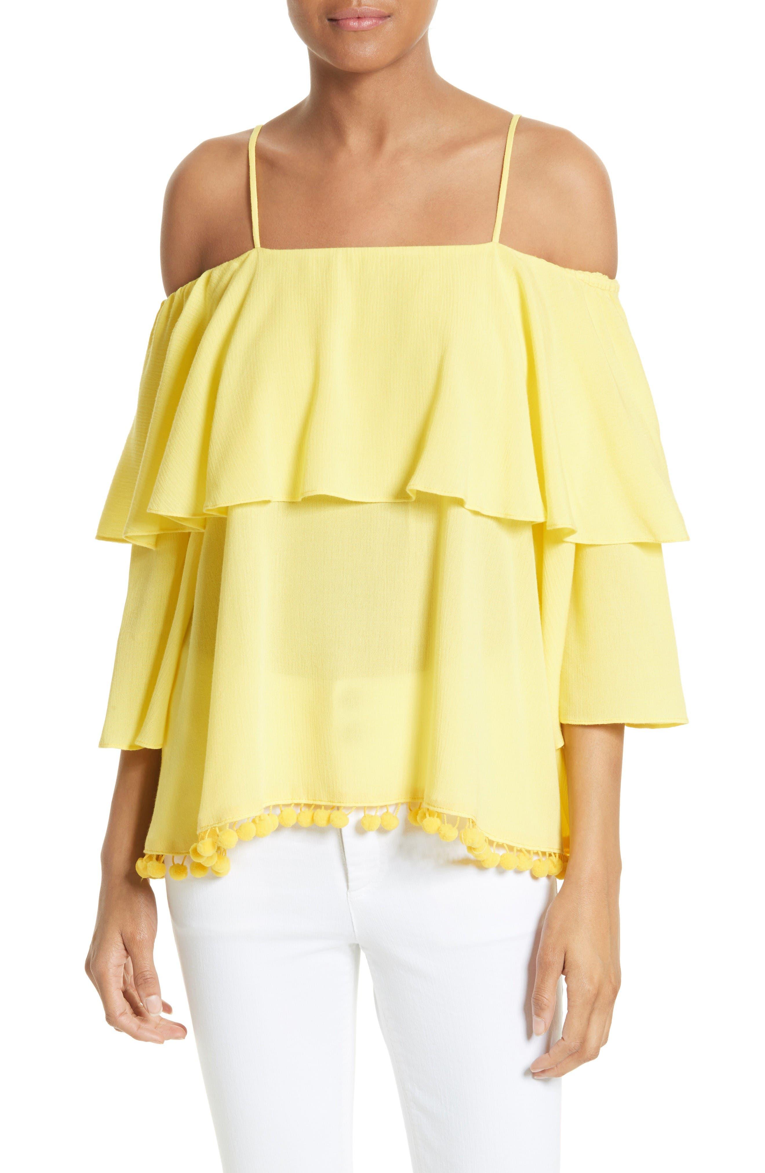 Meagan Tiered Blouse,                         Main,                         color, Lemon