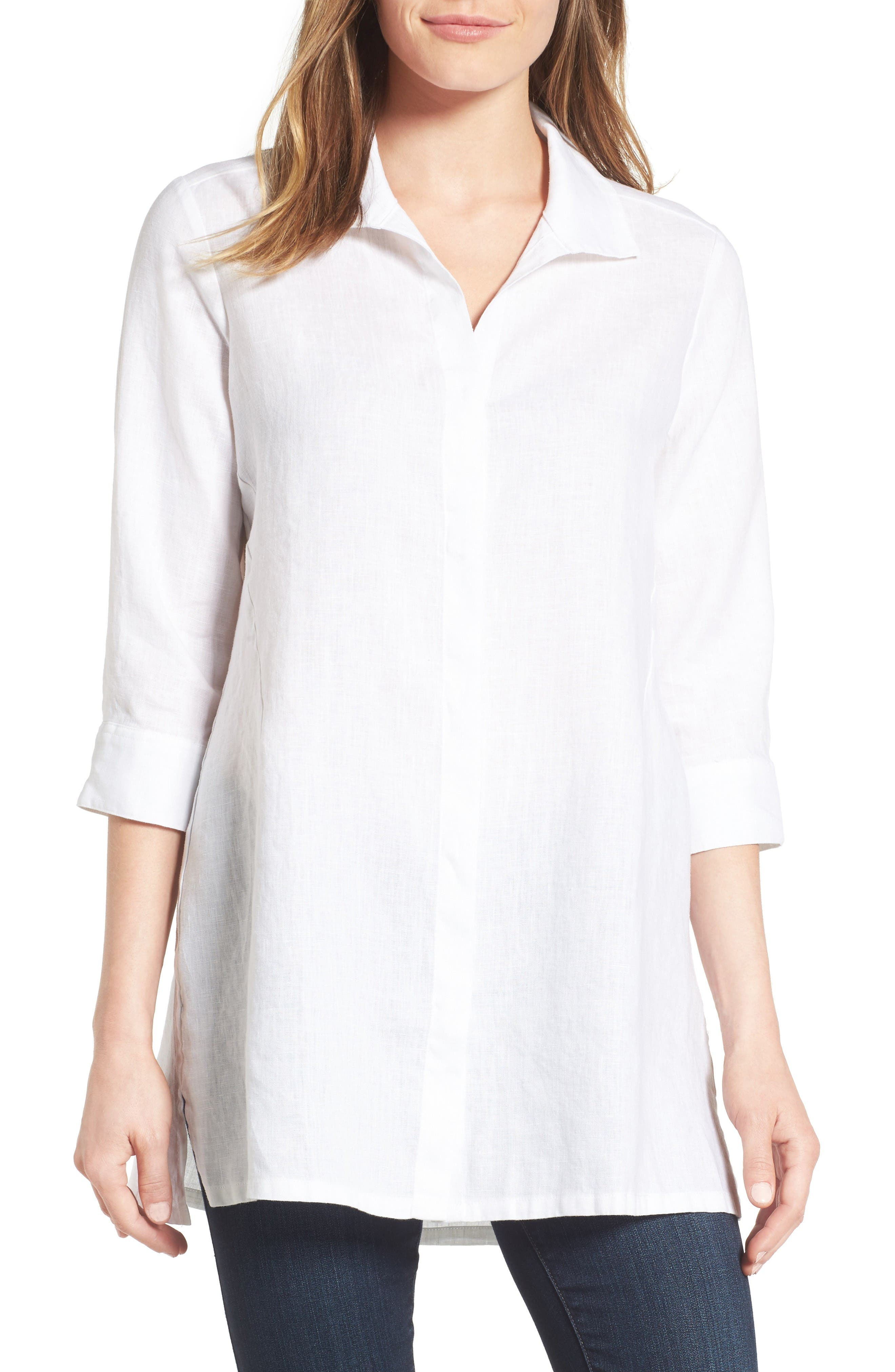 Chambray Linen Tunic,                         Main,                         color, White