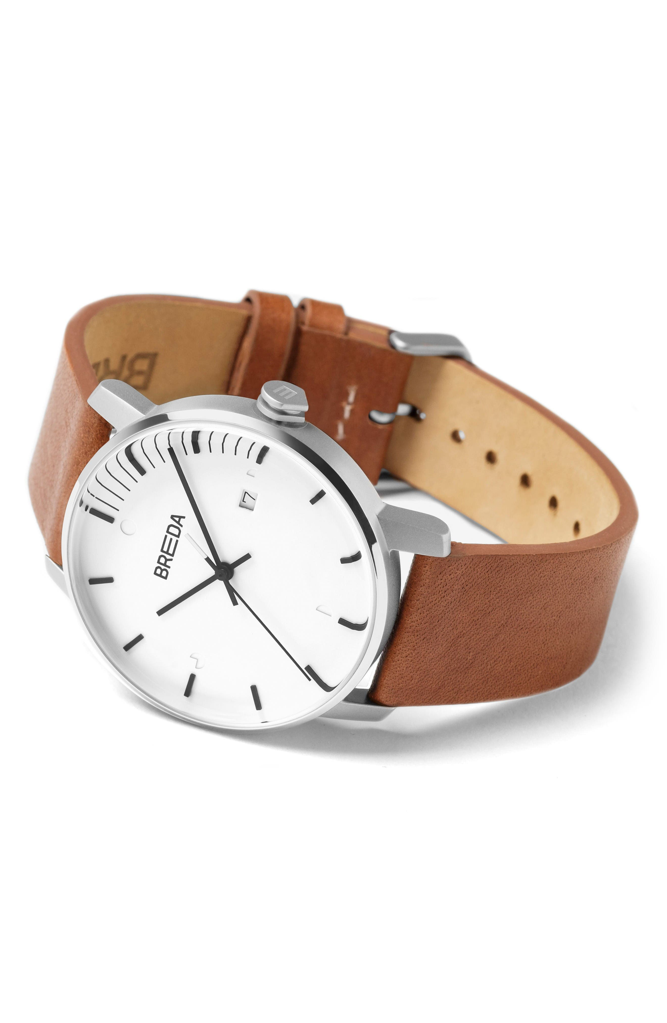 Phase Leather Strap Watch, 39mm,                             Alternate thumbnail 3, color,                             White/ Brown