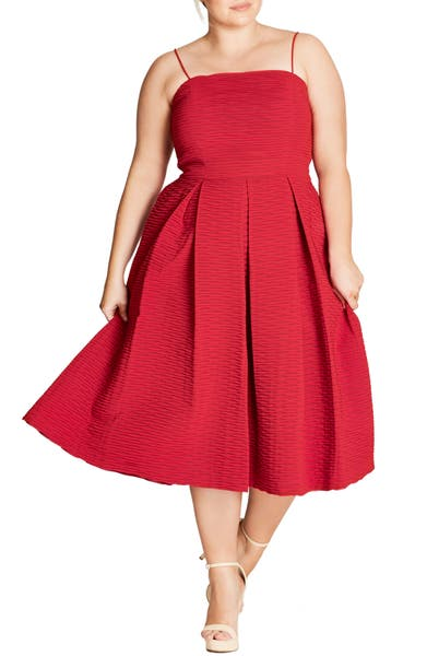 Main Image - City Chic Textured Treat Fit & Flare Dress (Plus Size)