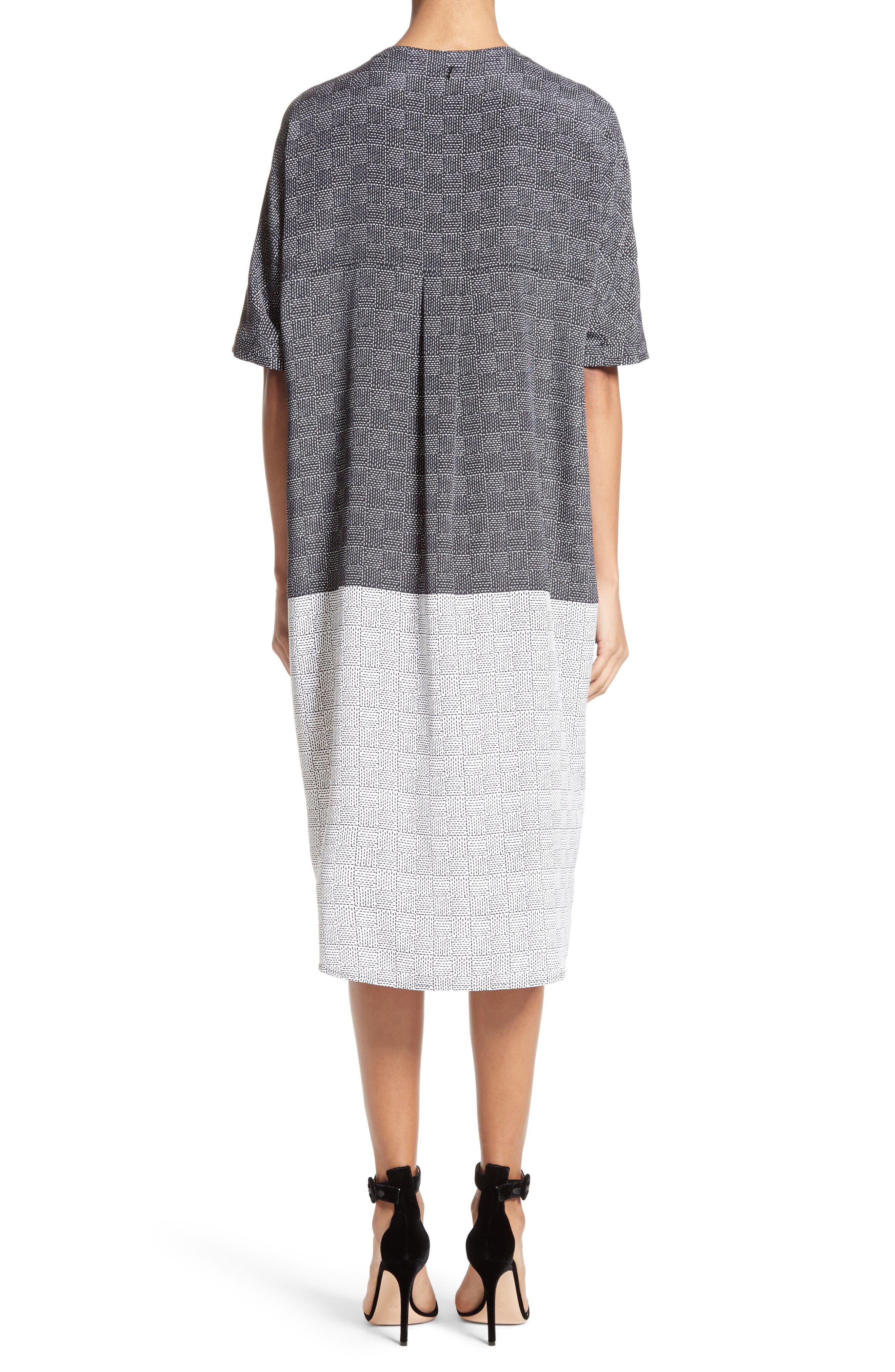 Alternate Image 2  - St. John Collection Stitching Print Stretch Silk Shirtdress