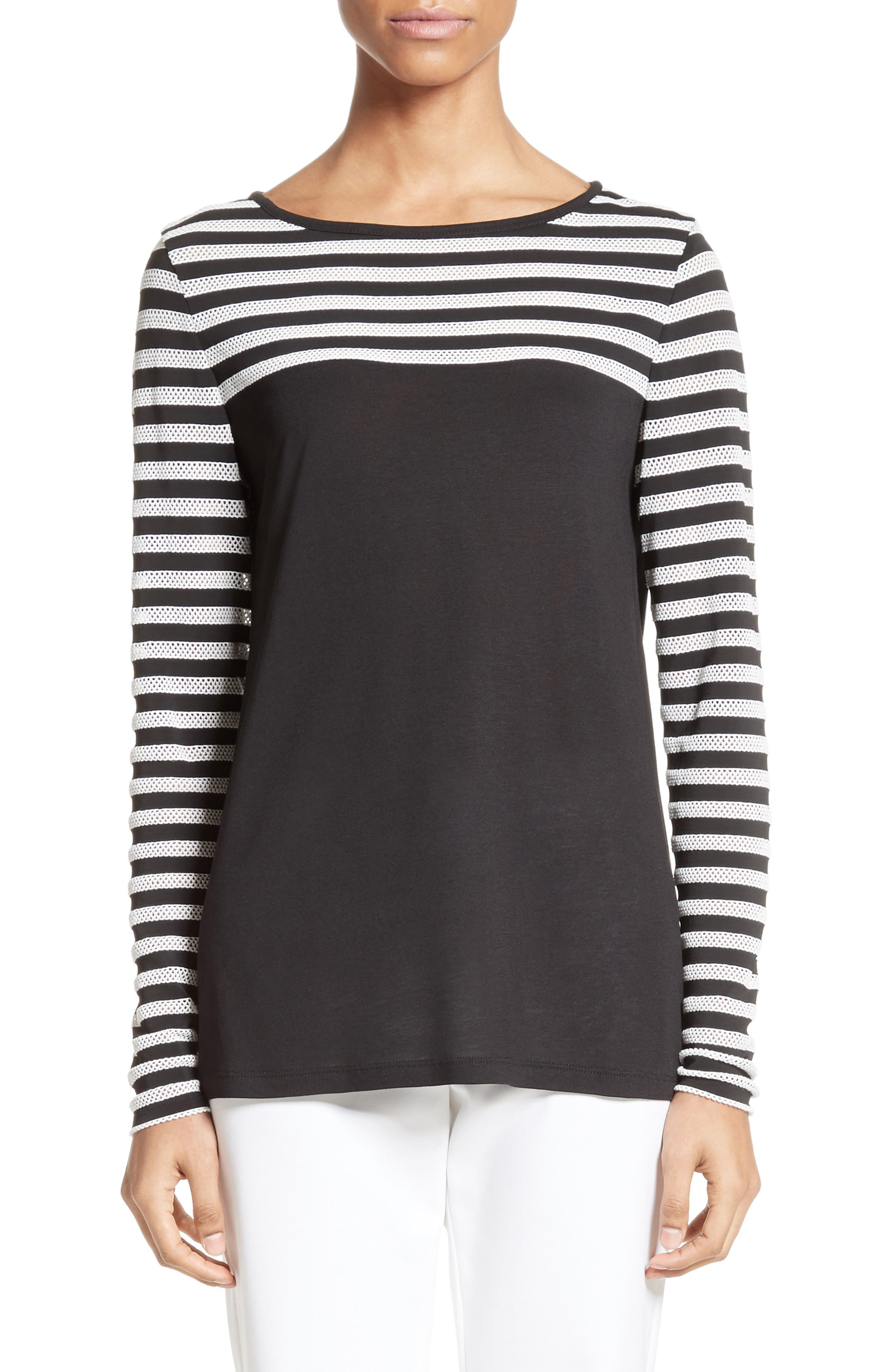 St. John Collection Stripe Mesh Inset Top