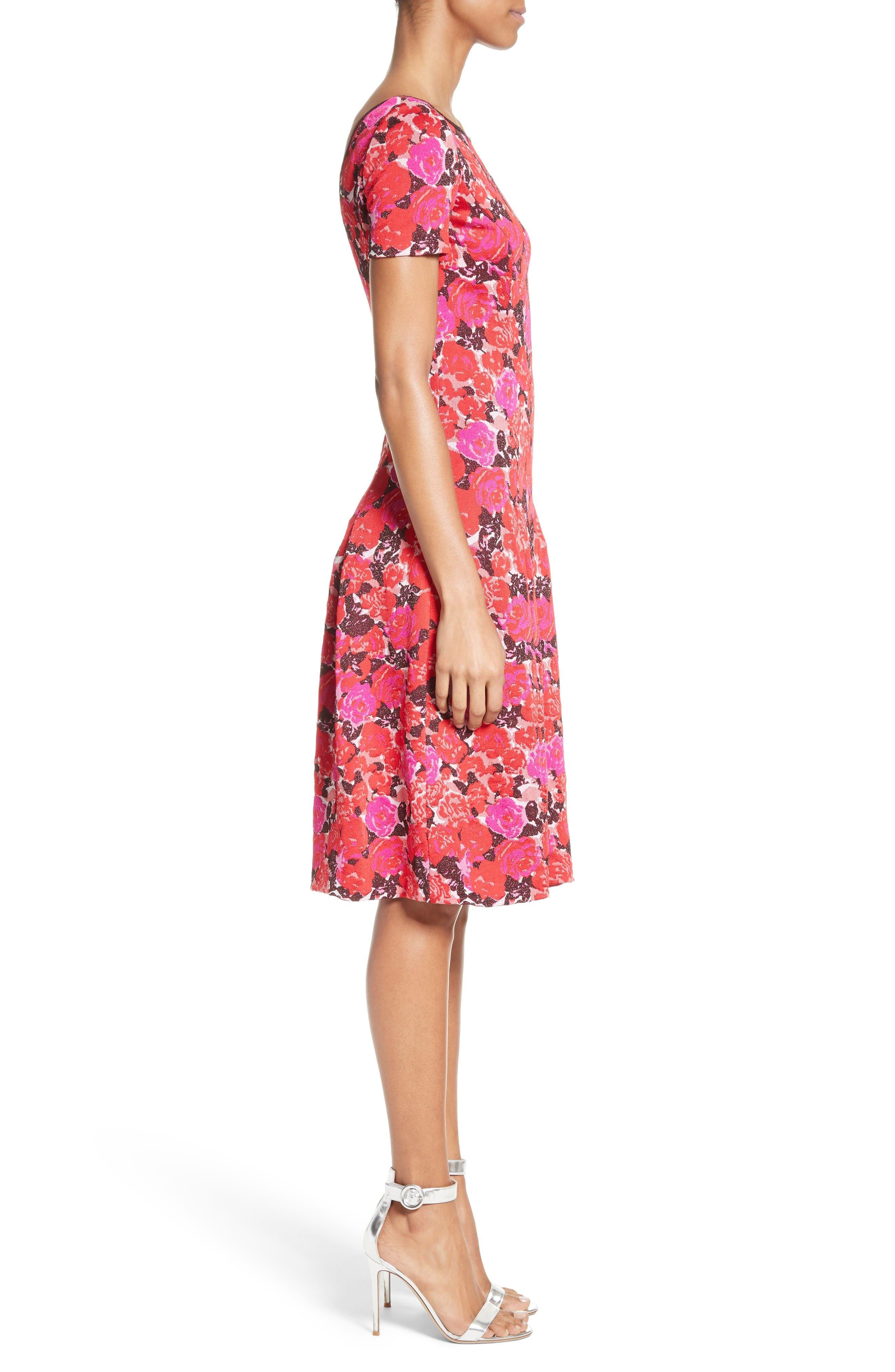 Alternate Image 3  - St. John Collection Indian Rose Blister Jacquard Dress