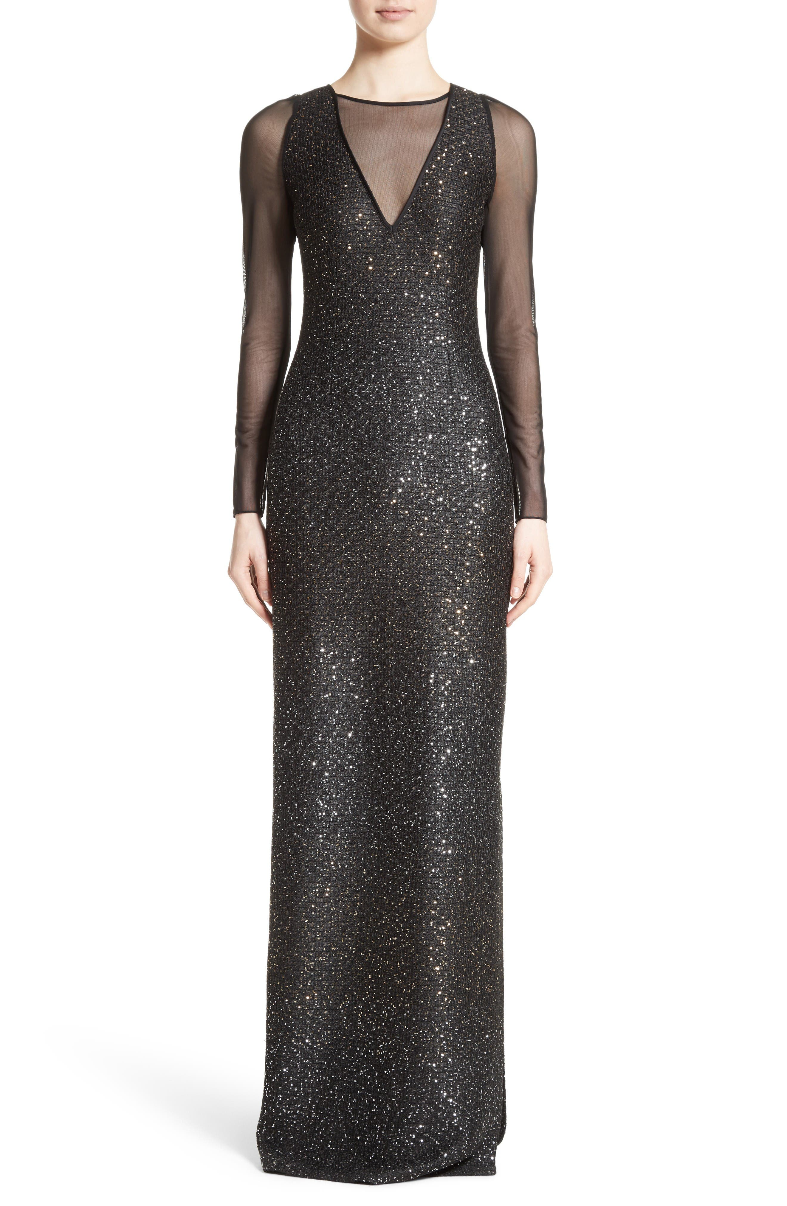 Sequin Illusion Yoke Gown,                             Main thumbnail 1, color,                             Caviar/Gold